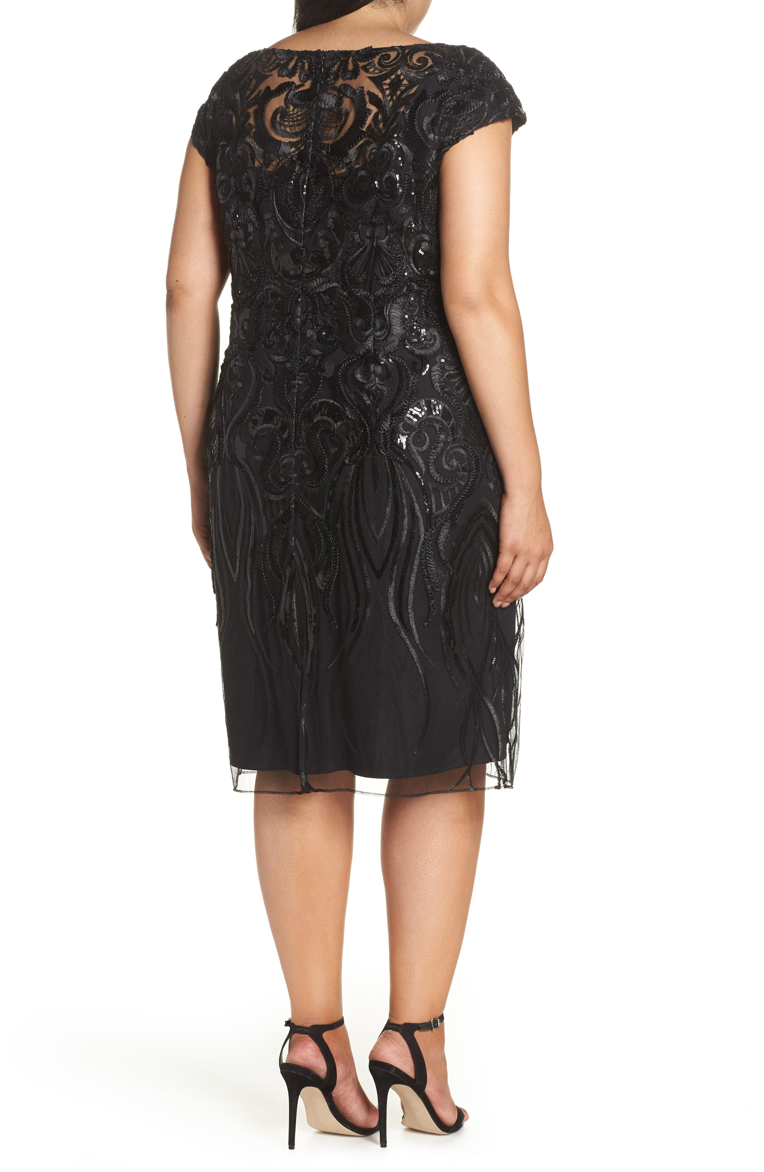 Sequin Embroidered Sheath Dress,                             Alternate thumbnail 2, color,                             001