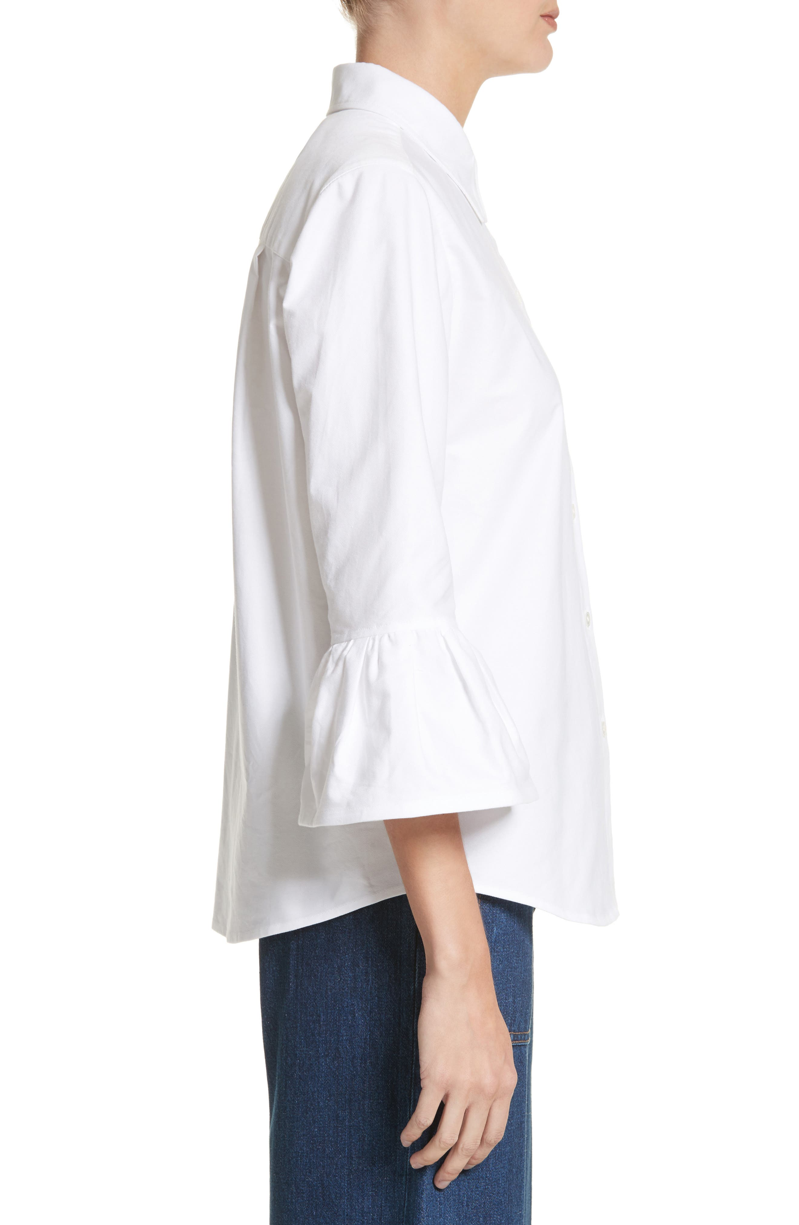 Bell Sleeve Cotton Top,                             Alternate thumbnail 3, color,                             100