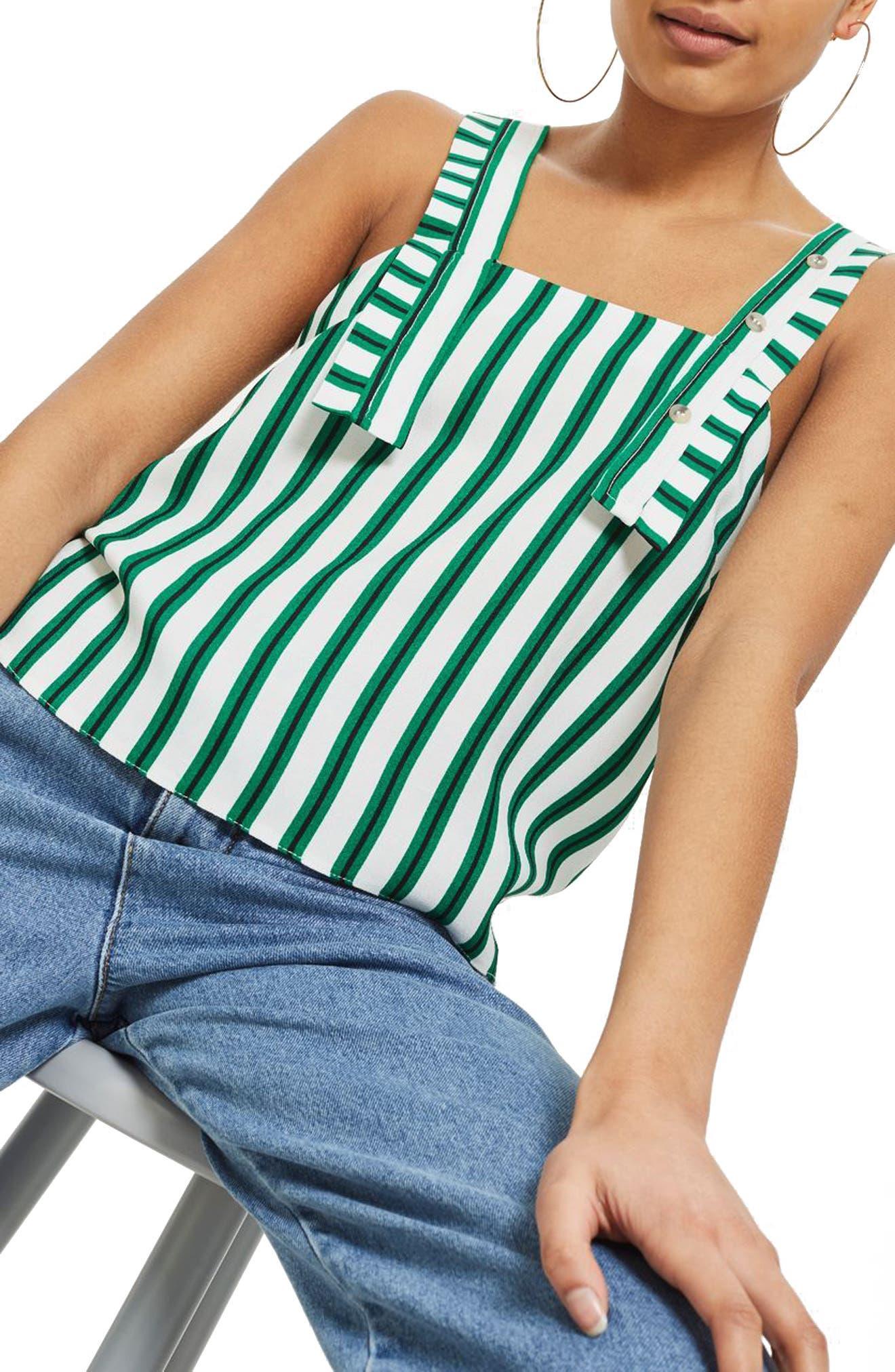 Stripe Button Camisole,                             Alternate thumbnail 4, color,                             300