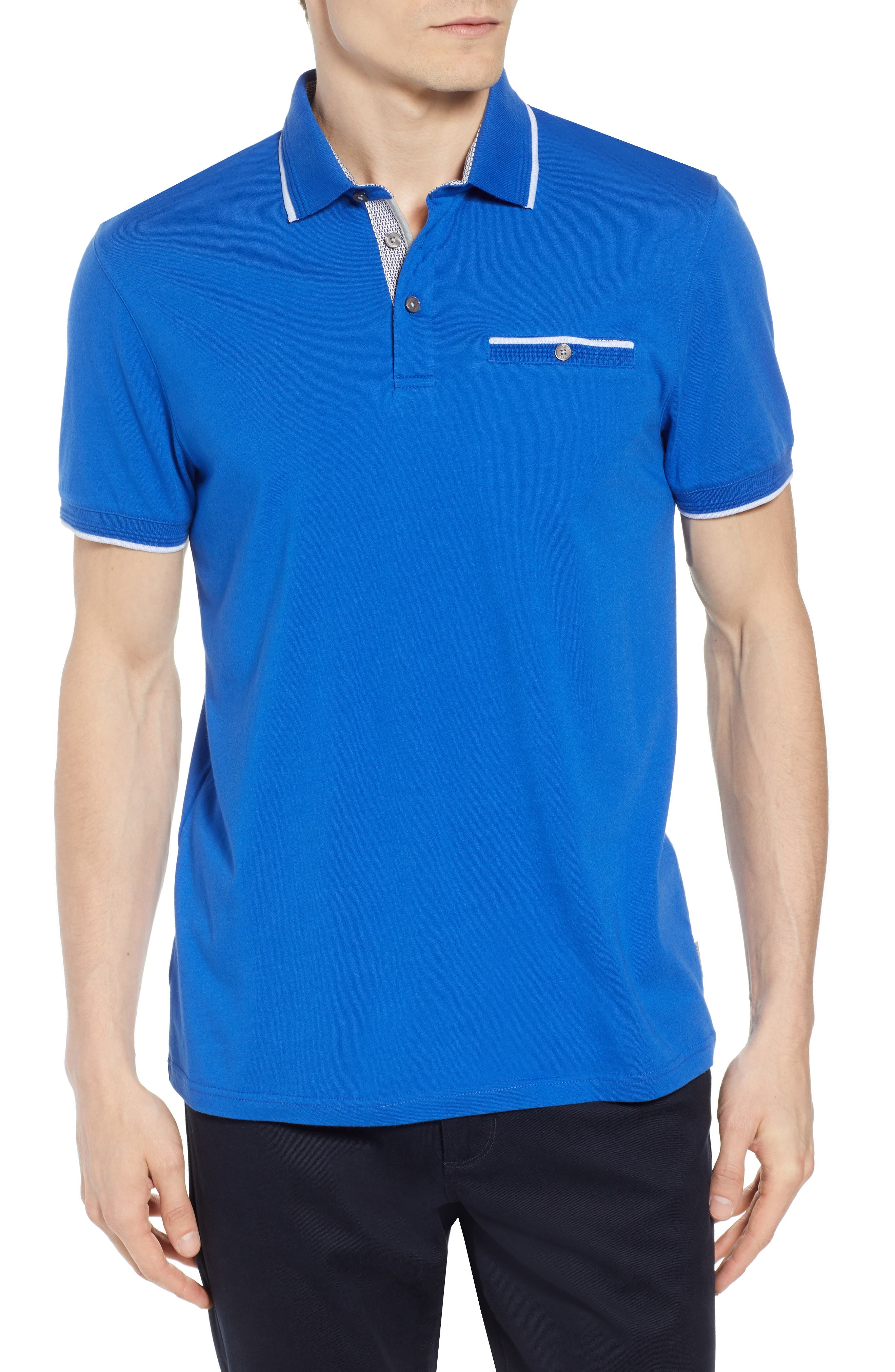 Derry Modern Slim Fit Polo,                             Main thumbnail 1, color,                             BRIGHT BLUE