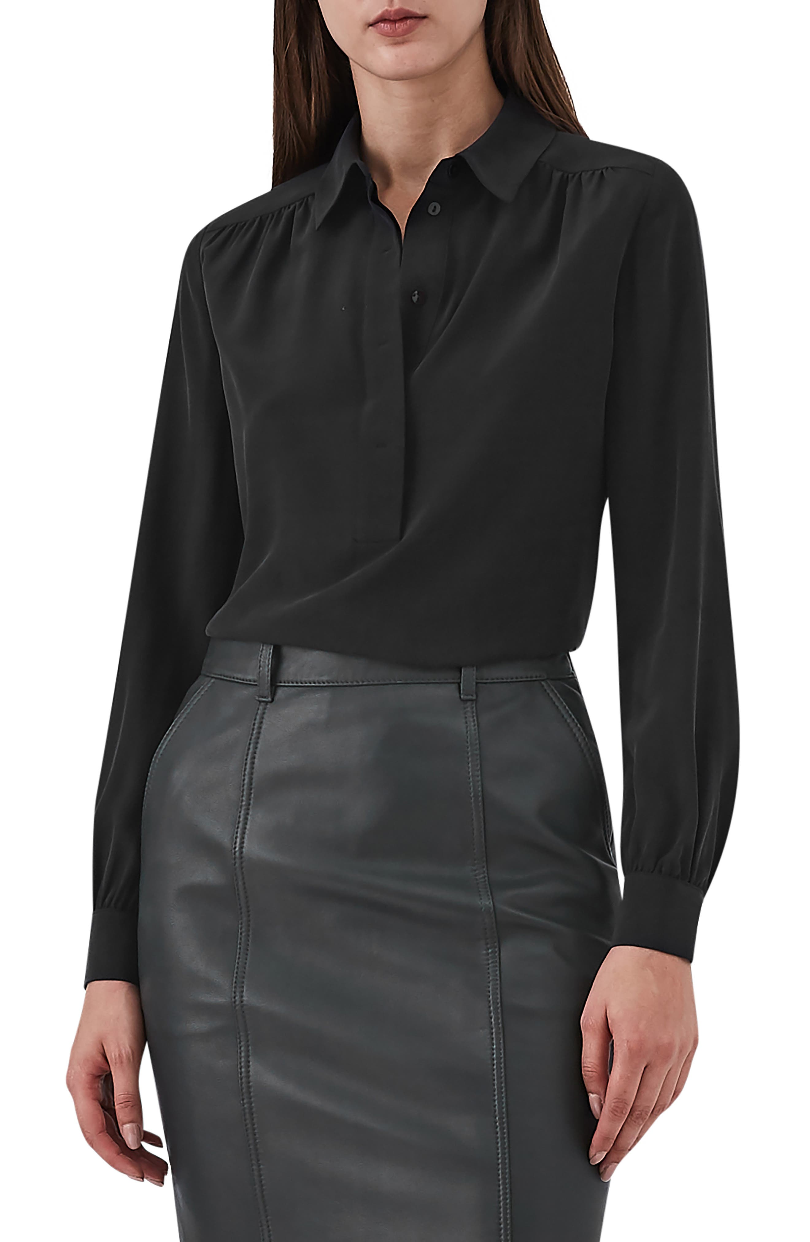 REISS Nadina Silk Shirt in Black