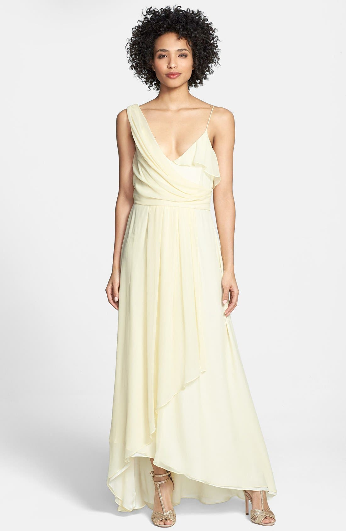 Asymmetrical Chiffon Dress,                             Main thumbnail 1, color,                             740