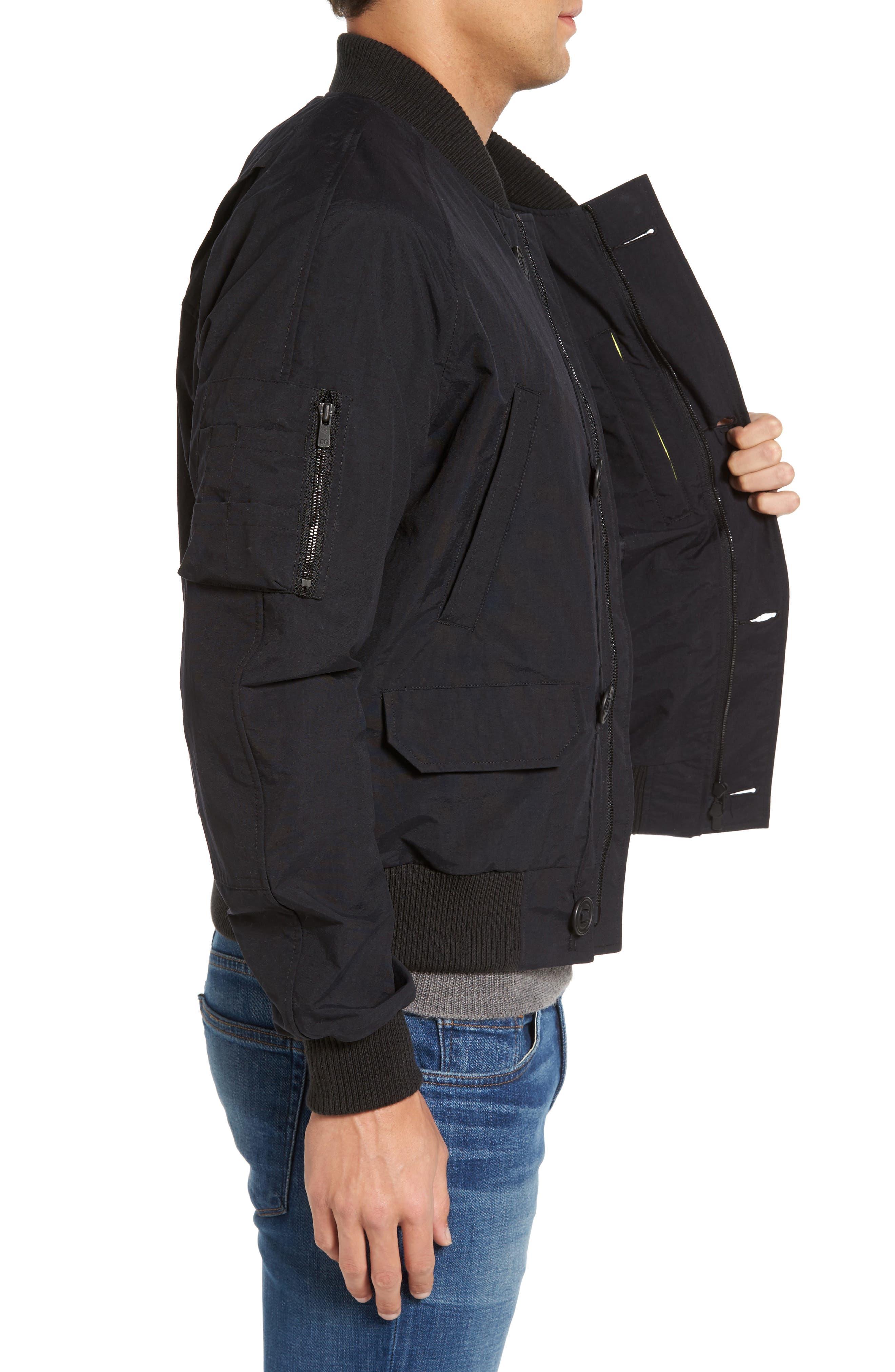 Faber Slim Fit Bomber Jacket,                             Alternate thumbnail 3, color,                             BLACK