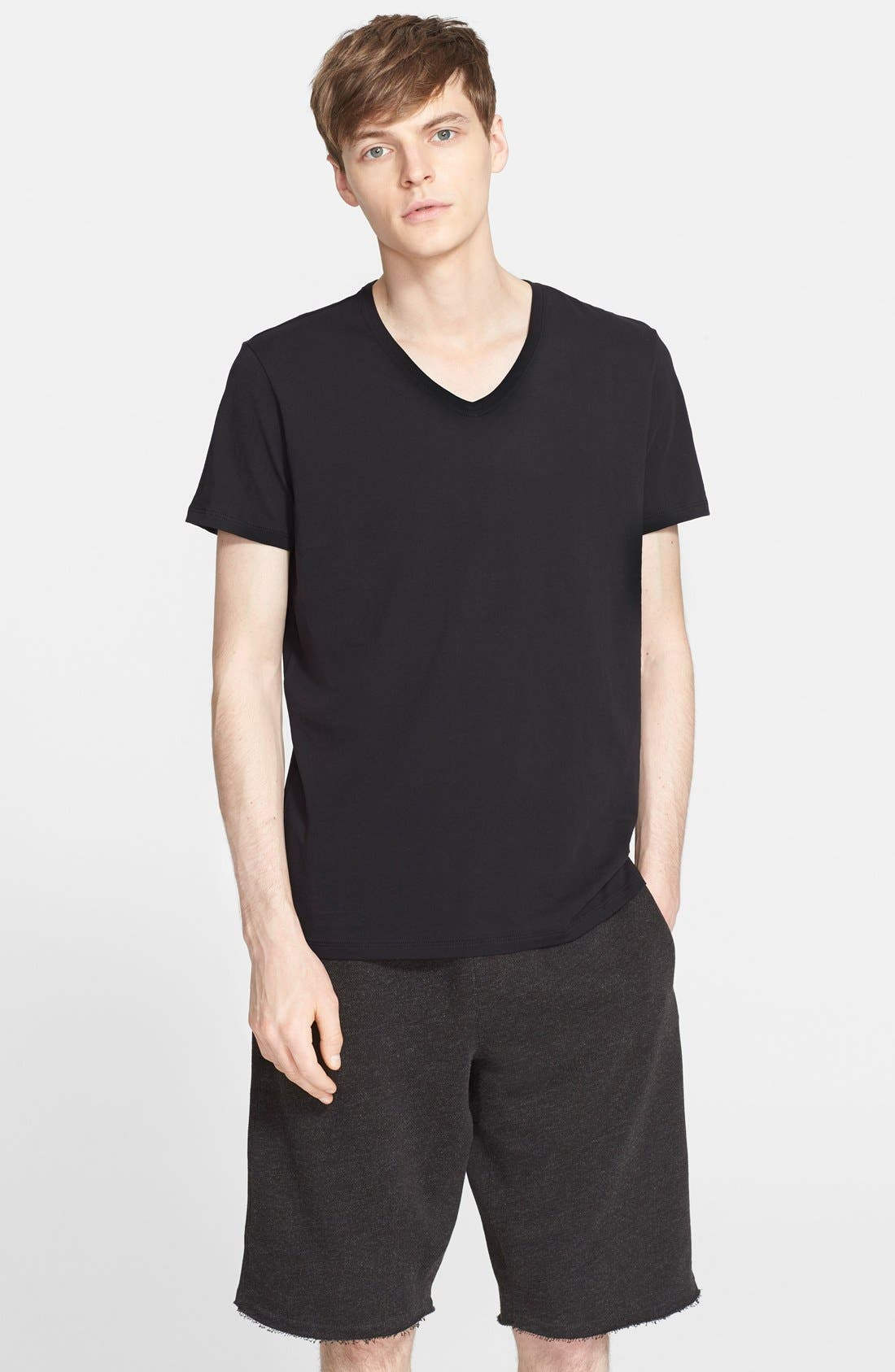 Cotton Jersey V-Neck T-Shirt,                         Main,                         color,