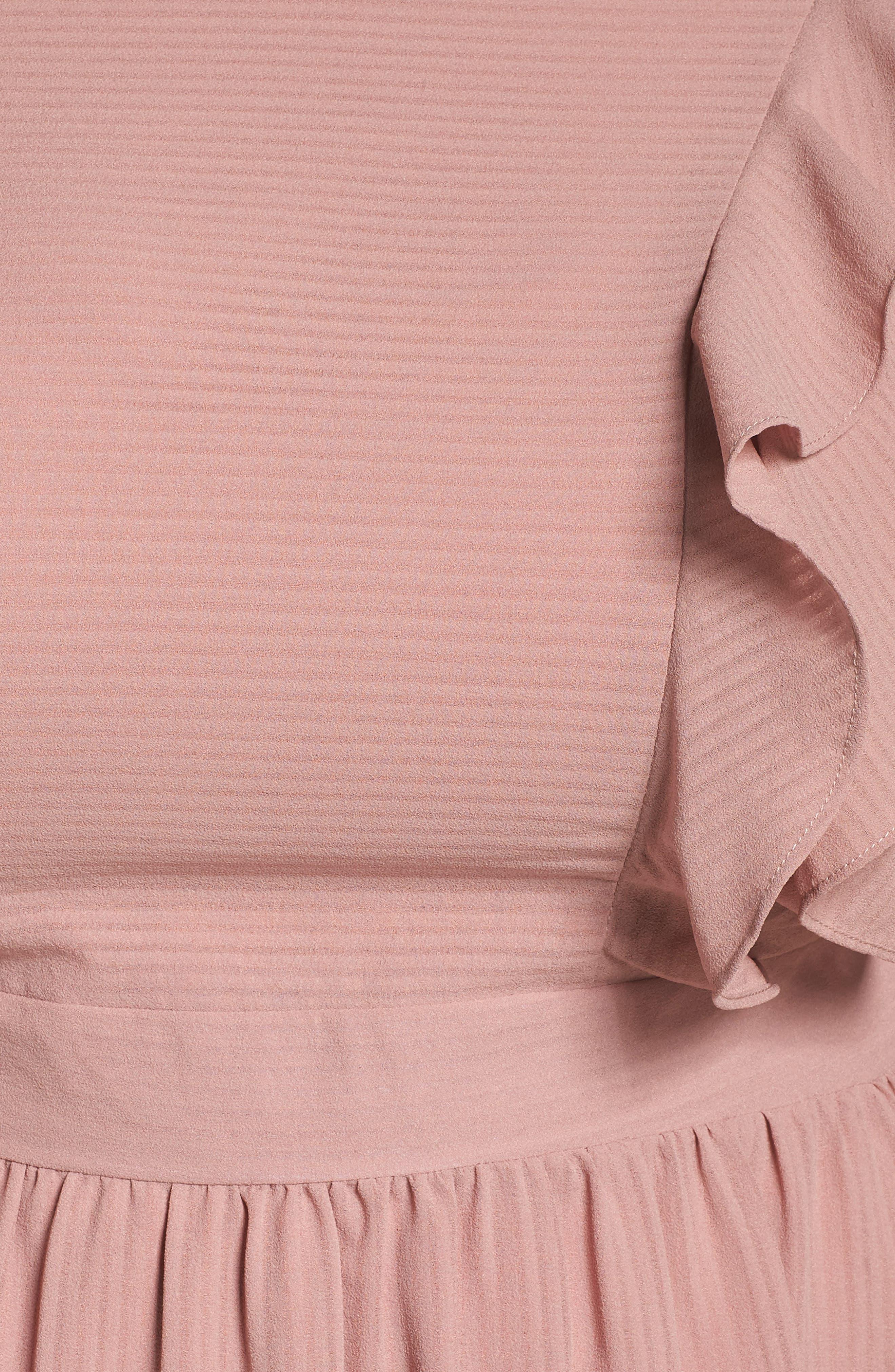 Ruffle Sleeve Fit & Flare Dress,                             Alternate thumbnail 6, color,                             681