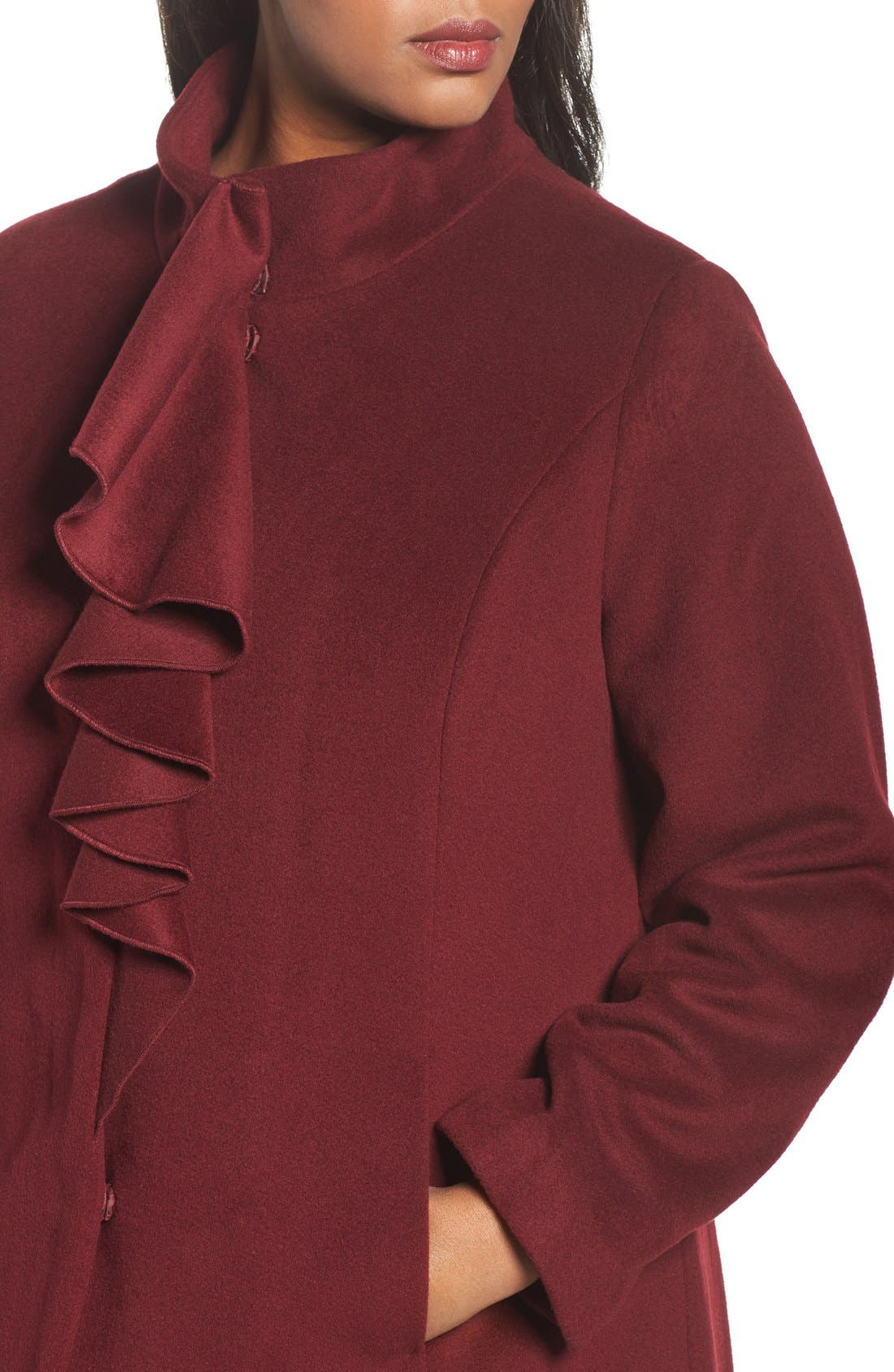 Kate Ruffle Wool Blend Coat,                             Alternate thumbnail 14, color,