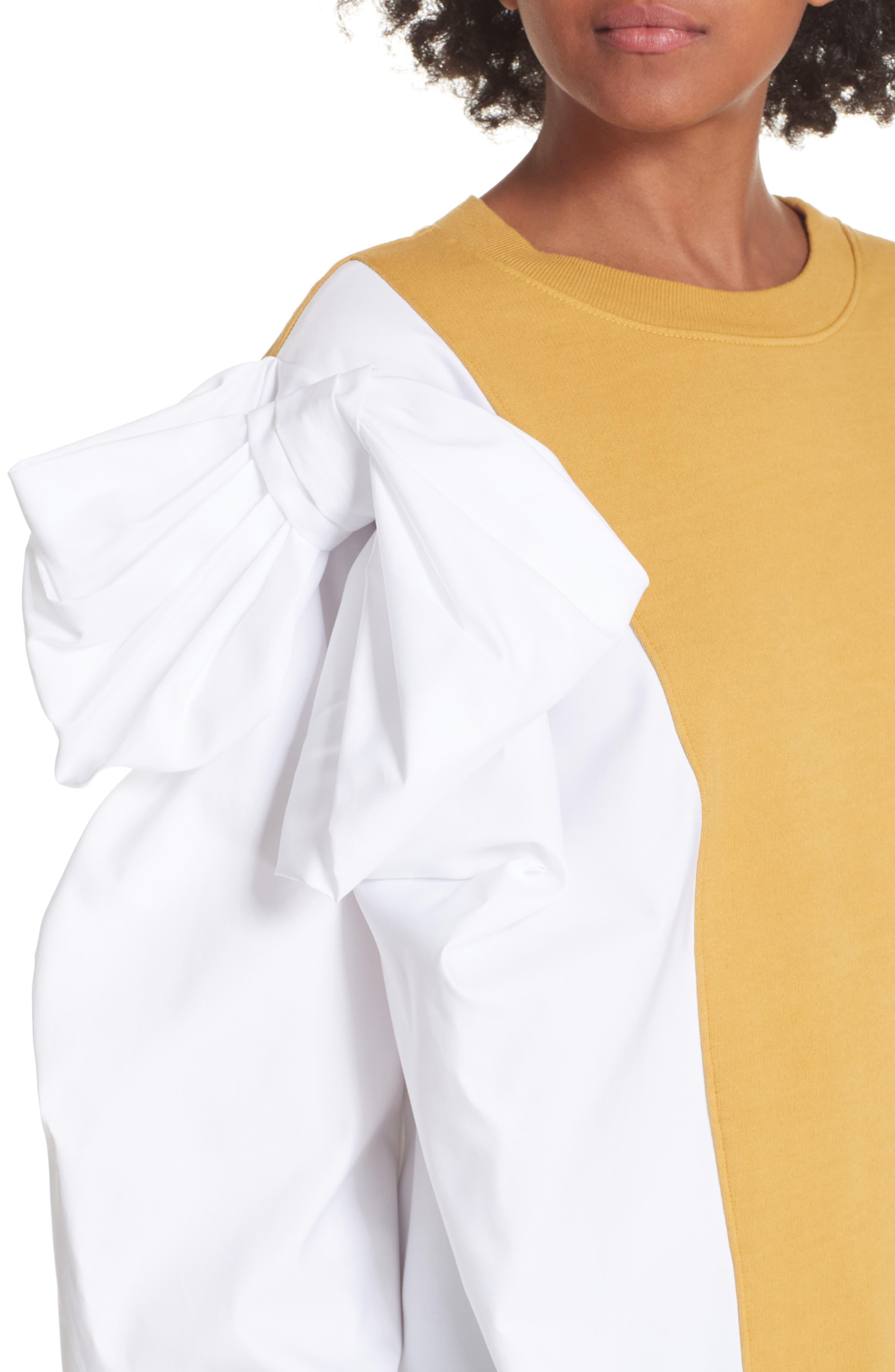 Bow Colorblock Sweatshirt,                             Alternate thumbnail 4, color,                             MUSTARD/ WHITE