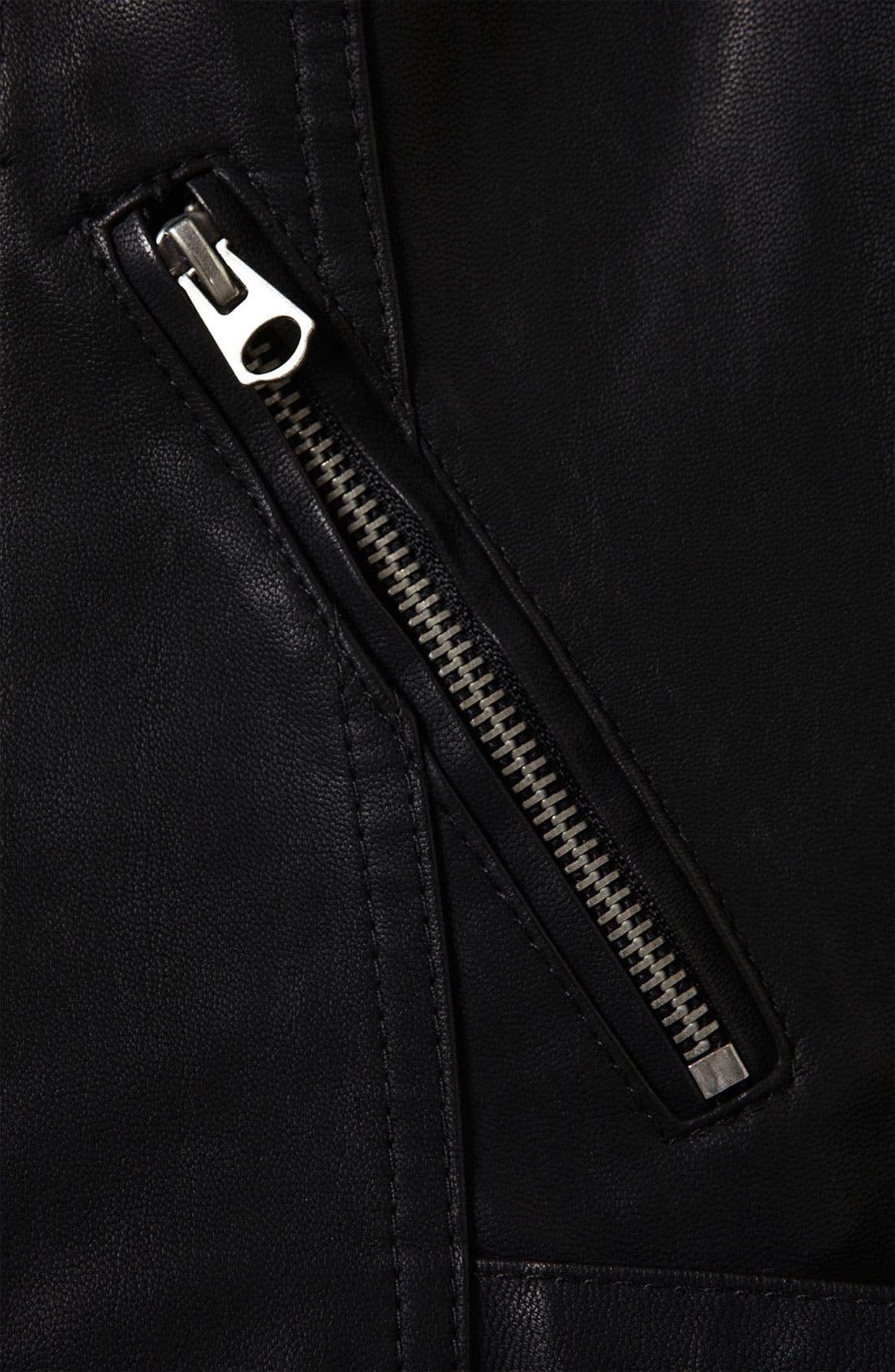 Studded Faux Leather Biker Jacket,                             Alternate thumbnail 3, color,