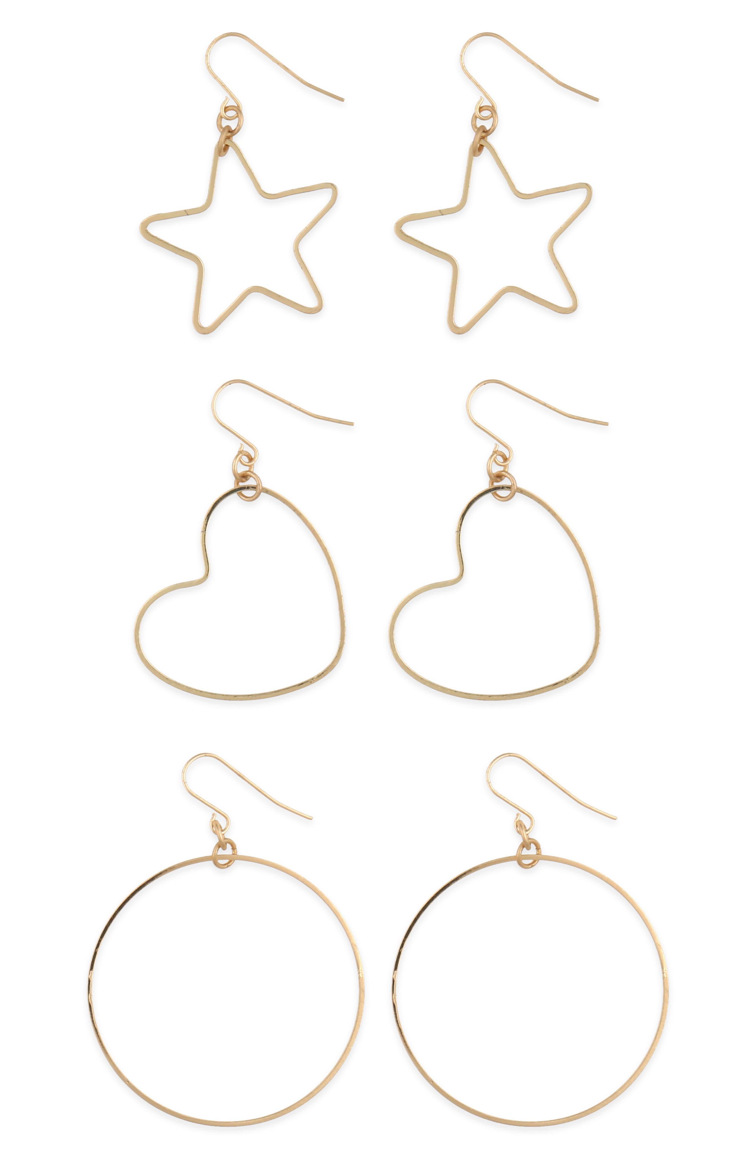 Girls Capelli New York Totally Meow 3Pack Hoop Earrings