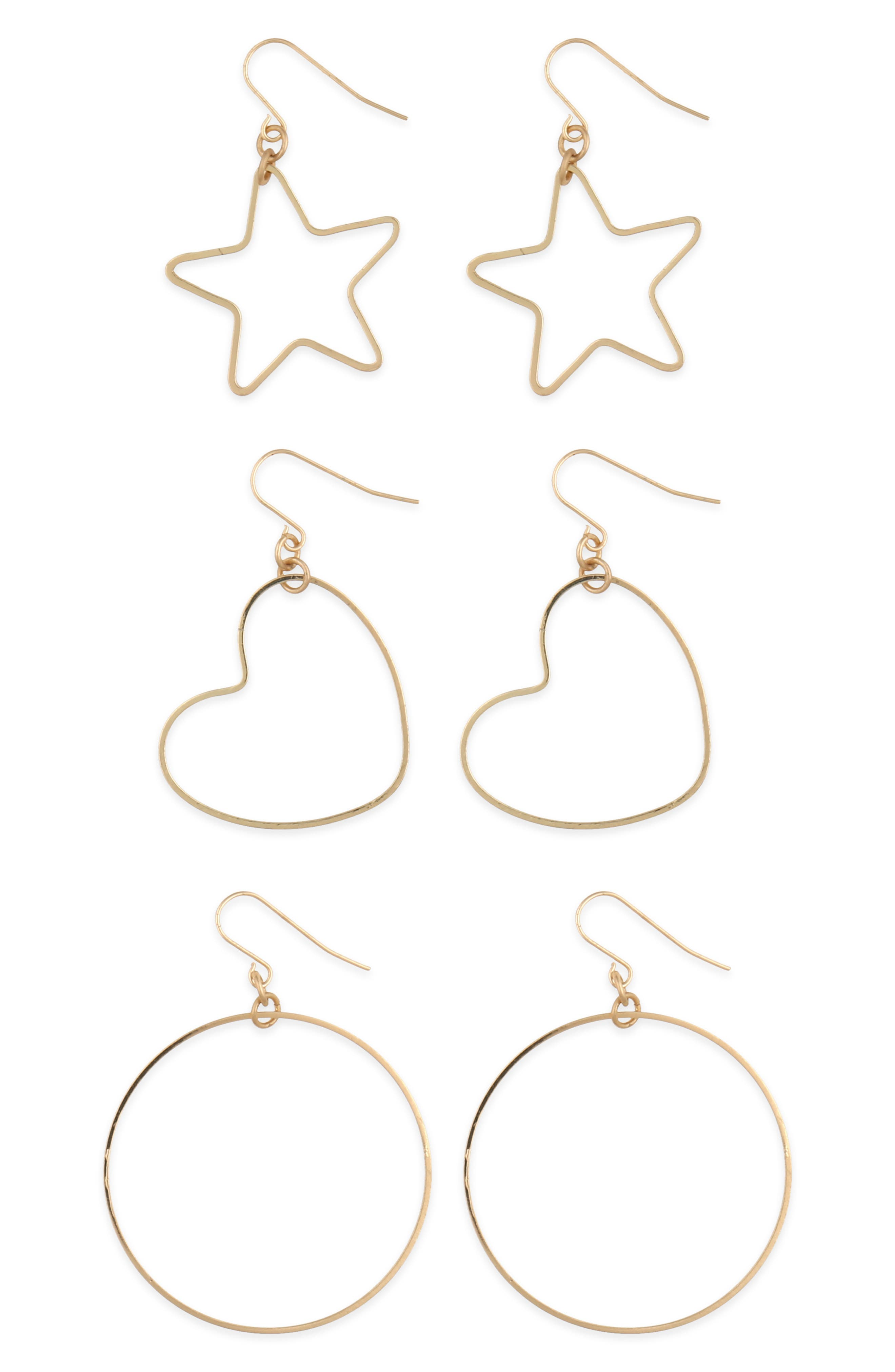 Totally Meow 3-Pack Hoop Earrings,                             Main thumbnail 1, color,                             GOLD