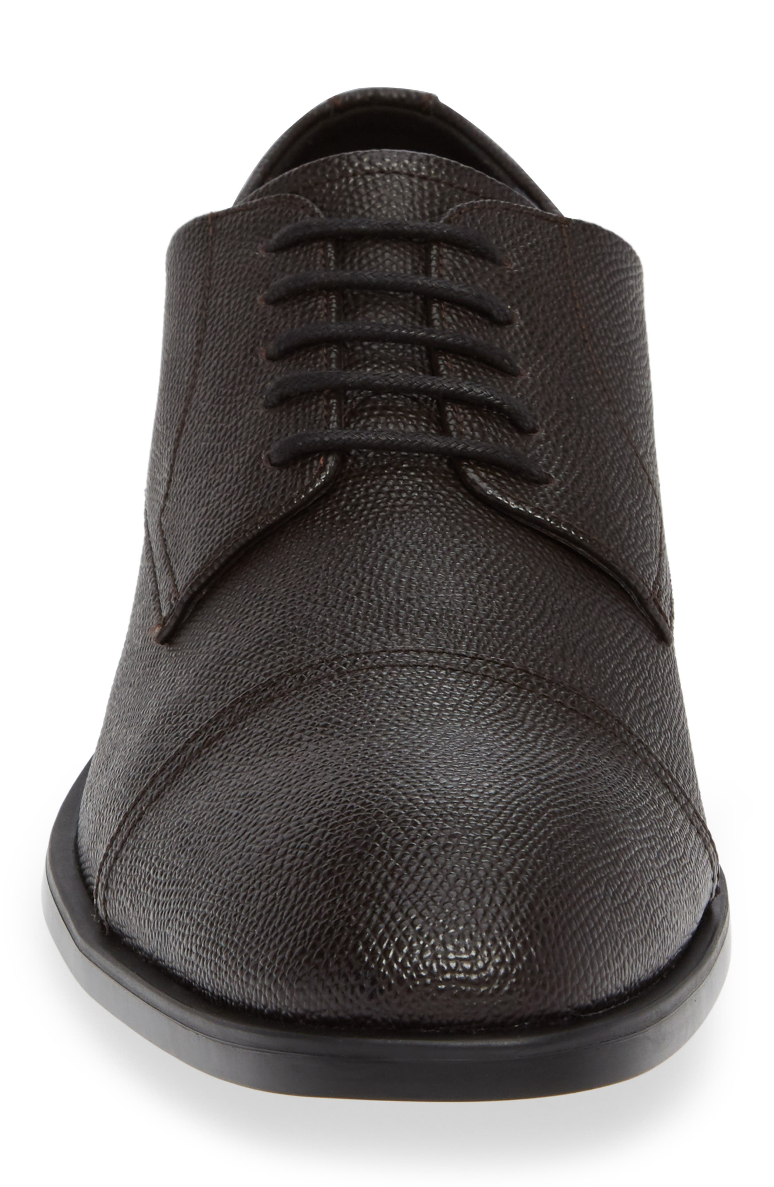 Connor Cap Toe Derby,                             Alternate thumbnail 4, color,                             DARK BROWN LEATHER
