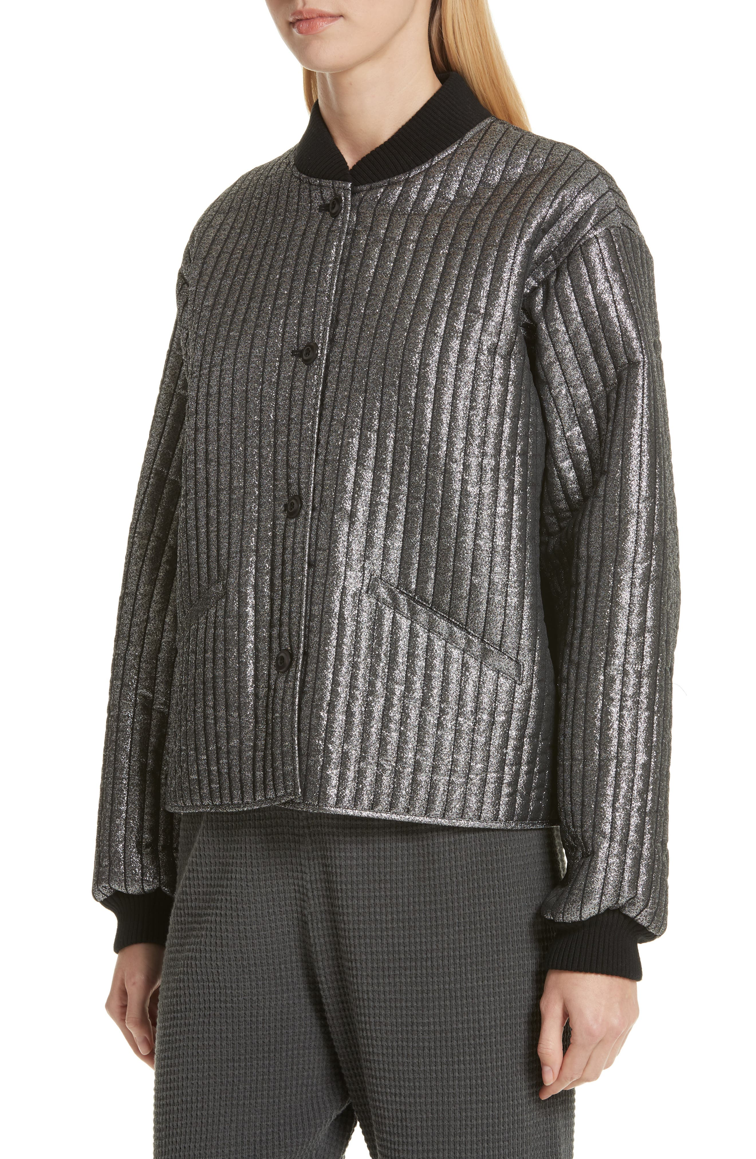 THE GREAT.,                             Quilted Metallic Bomber,                             Alternate thumbnail 4, color,                             040