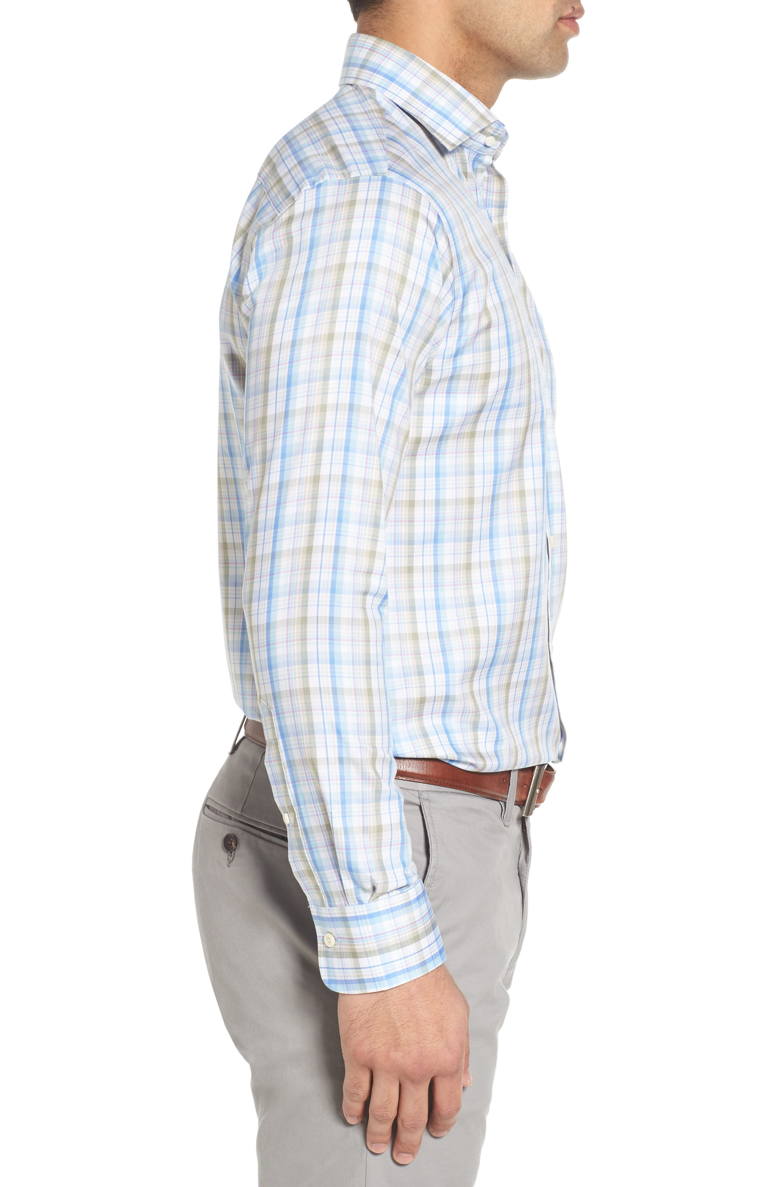 Crown Waterway Plaid Sport Shirt,                             Alternate thumbnail 3, color,                             418