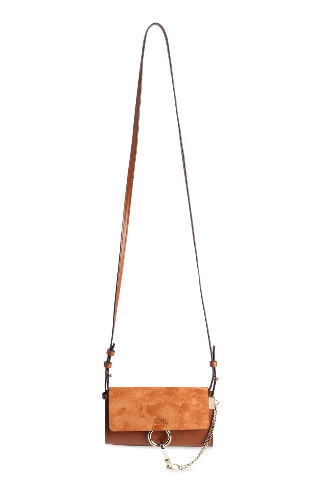 Mini Faye Suede & Leather Wallet on a Chain,                         Main,                         color, CLASSIC TOBACCO