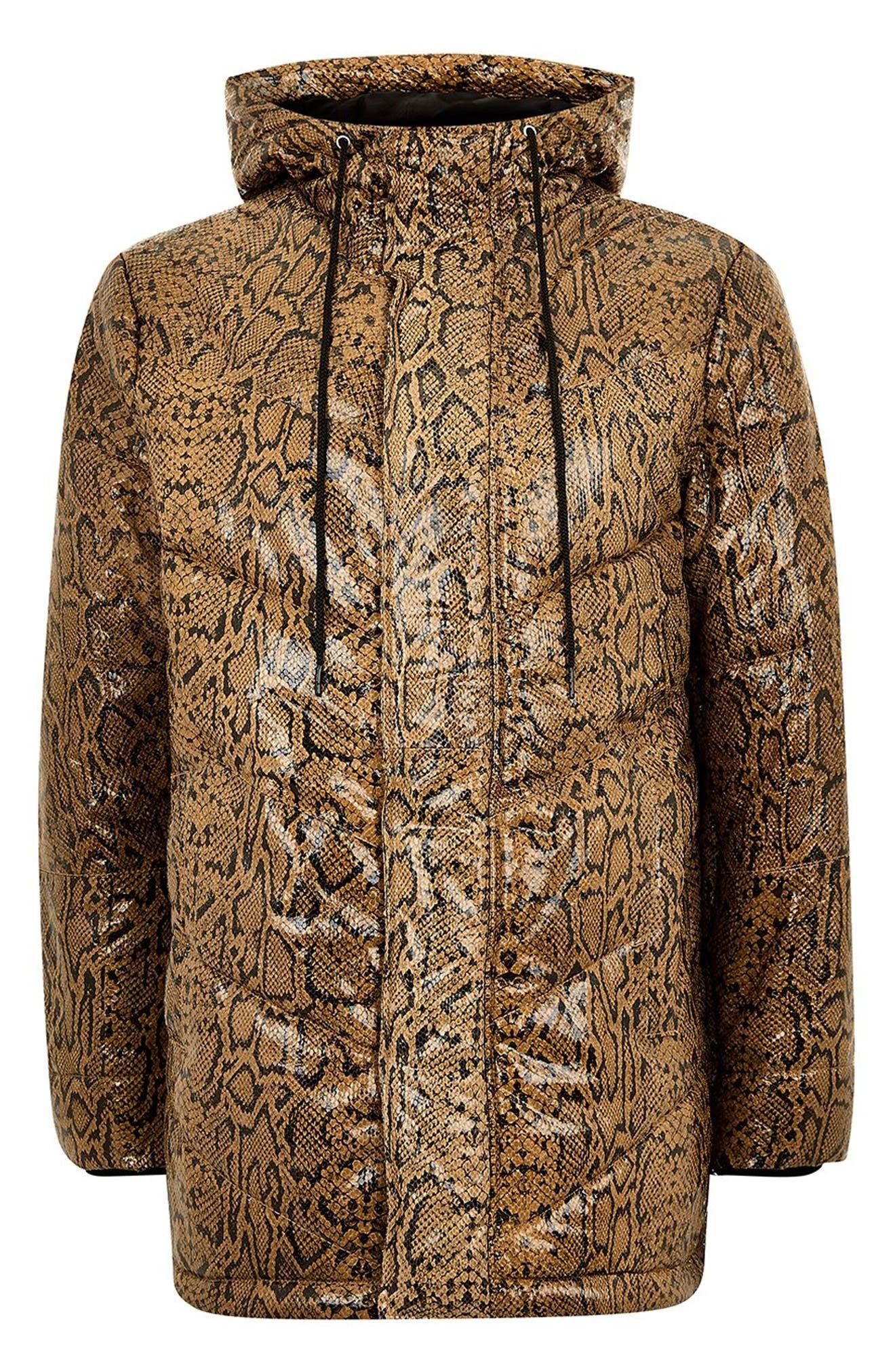 Snakeskin Print Leather Puffer Coat,                             Alternate thumbnail 2, color,                             200
