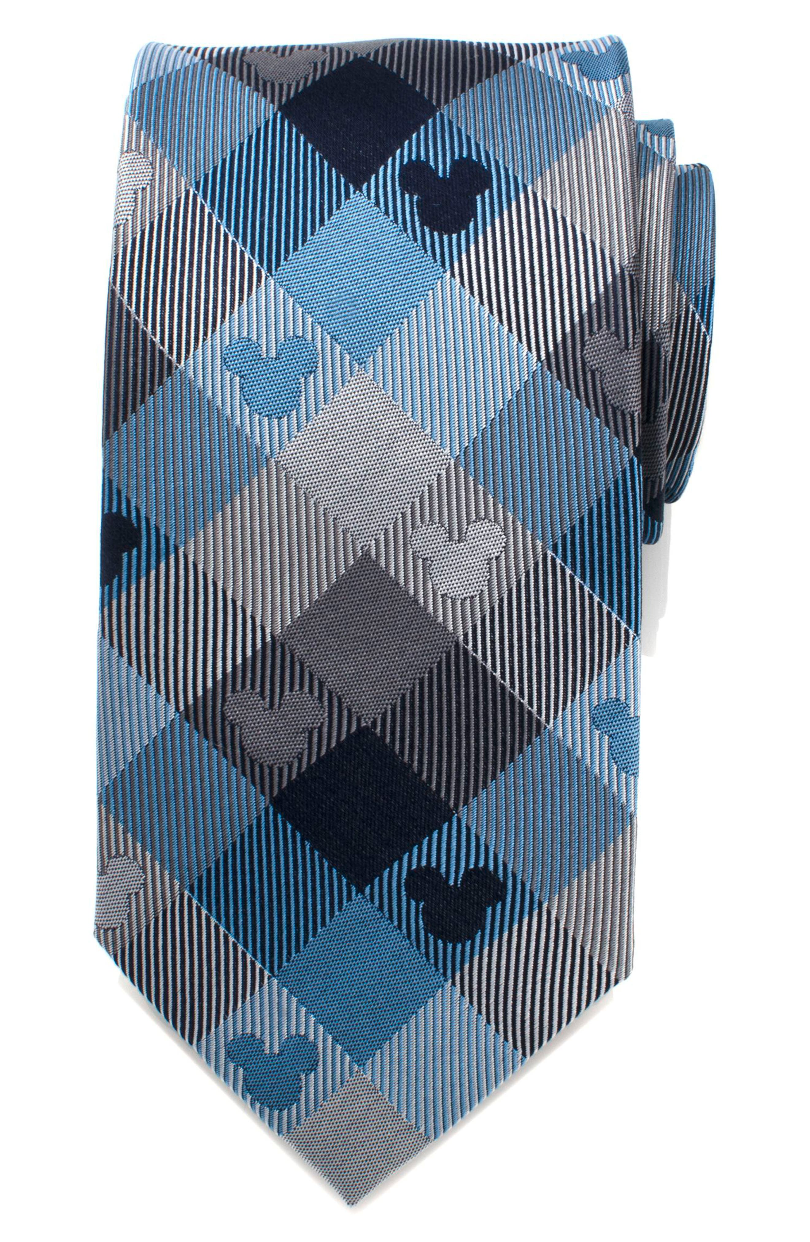 Mickey Mouse Plaid Silk Tie,                             Main thumbnail 1, color,                             BLUE/ GREY