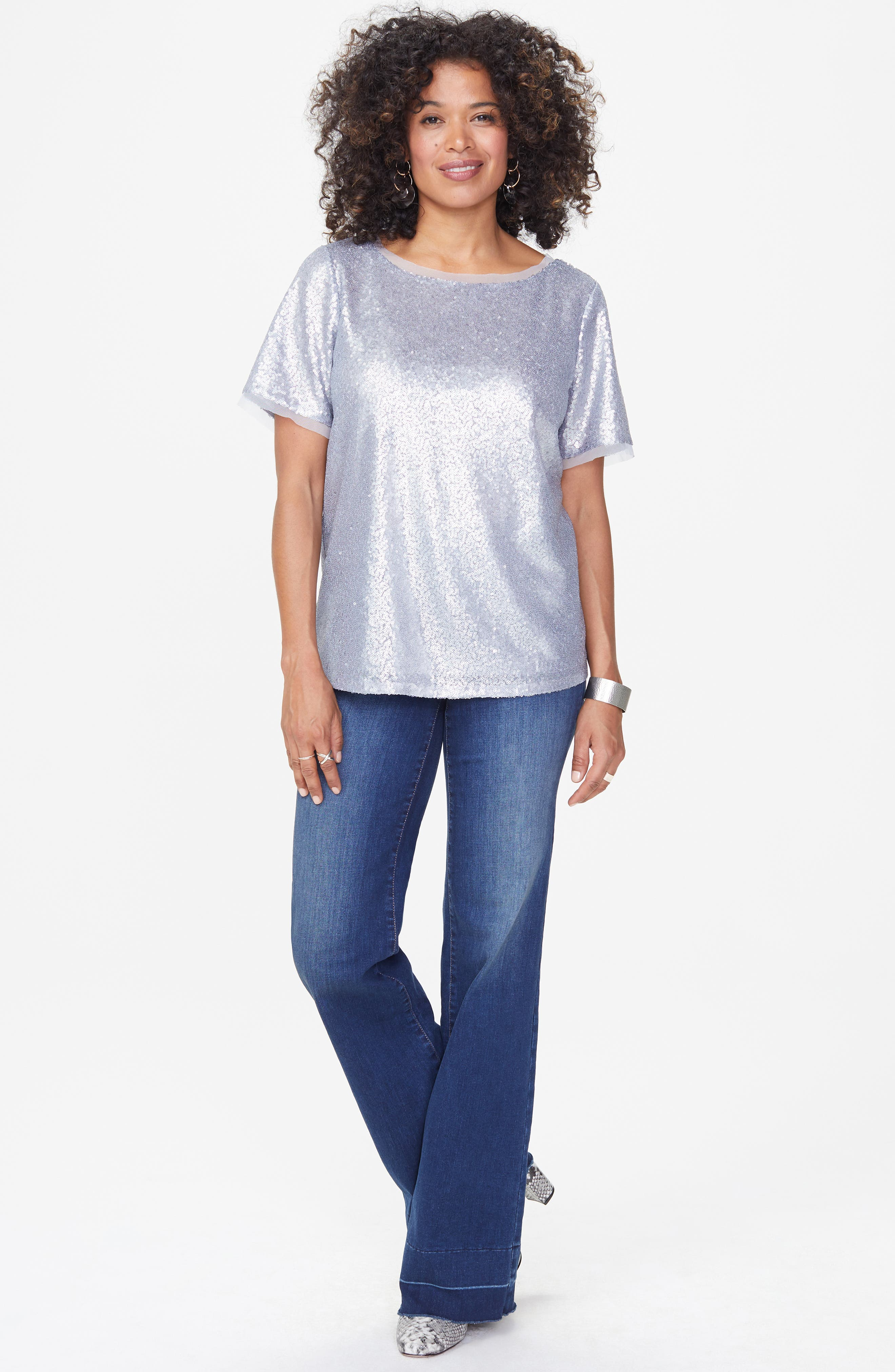 Sequin Woven Top,                             Alternate thumbnail 4, color,                             041