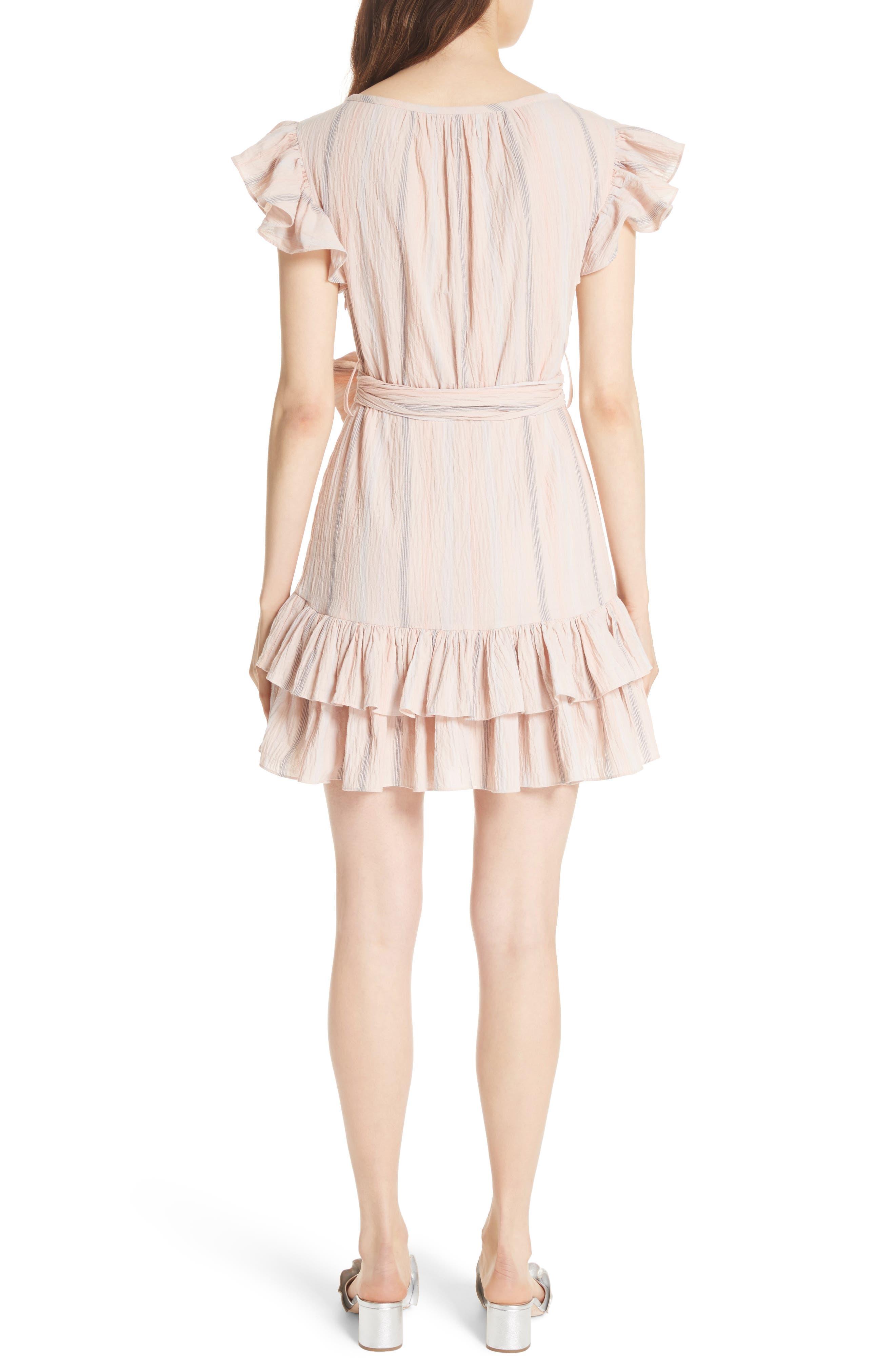 Stripe Ruffle Cap Sleeve Dress,                             Alternate thumbnail 2, color,