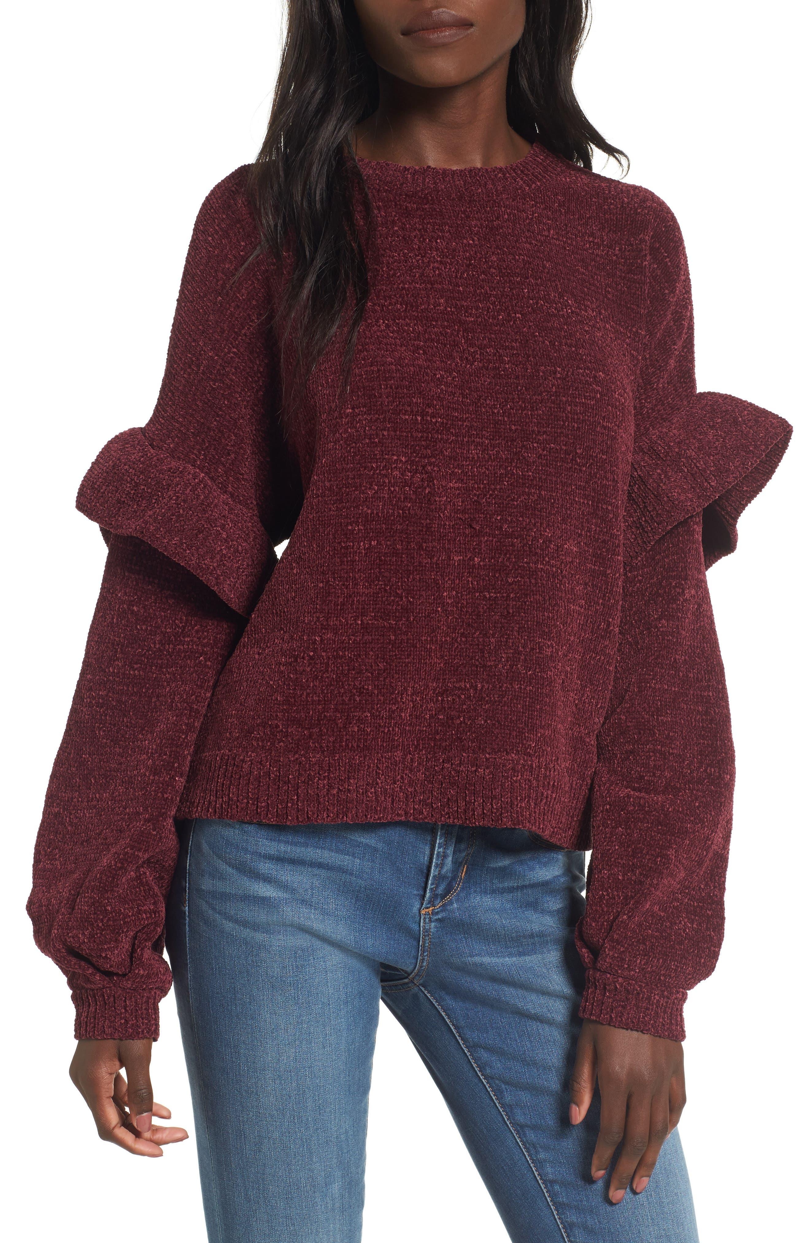 Ruffle Chenille Sweater,                             Main thumbnail 2, color,