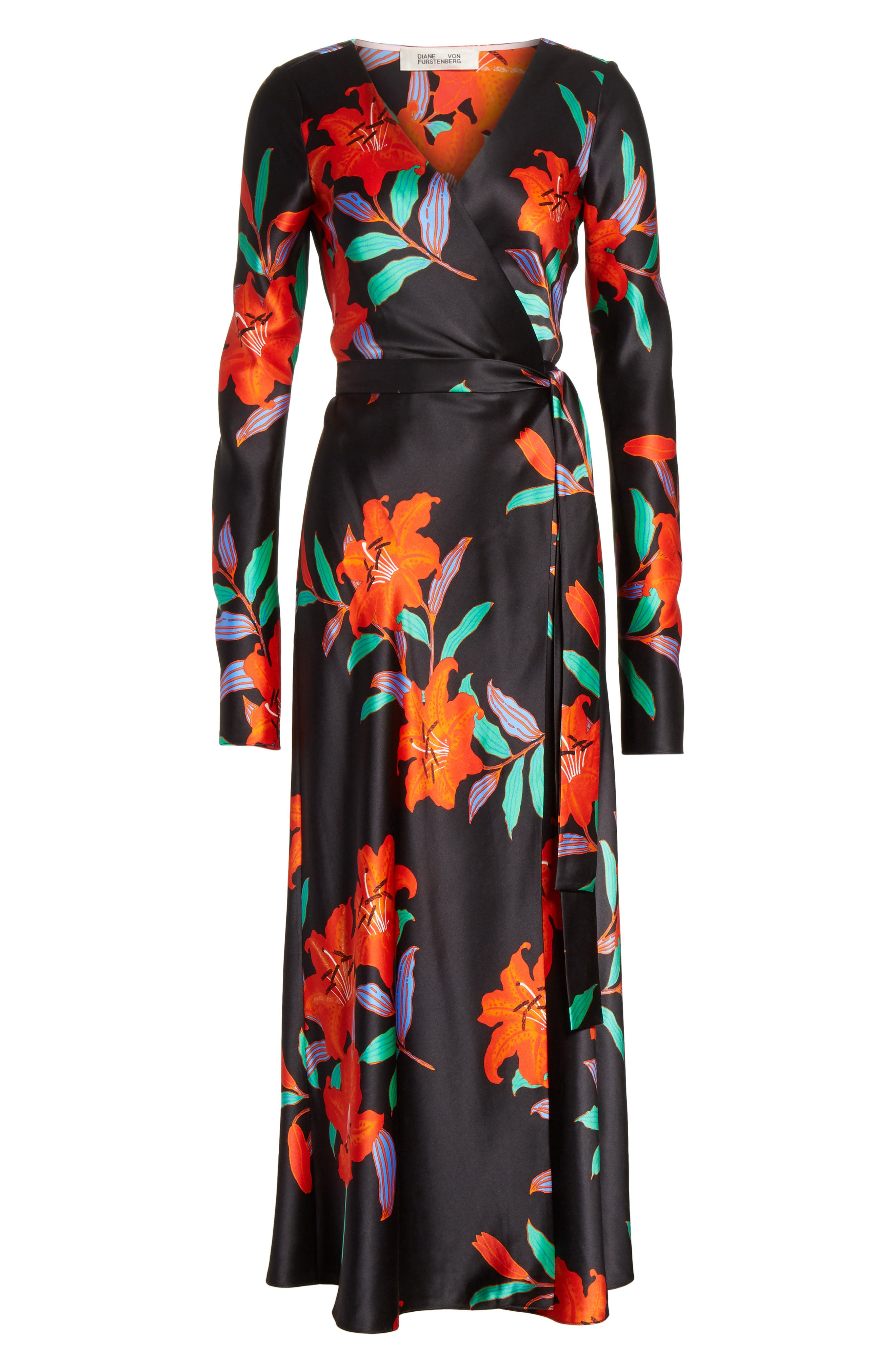Diane von Furstenberg Floral Print Wrap Silk Dress,                             Alternate thumbnail 6, color,                             001