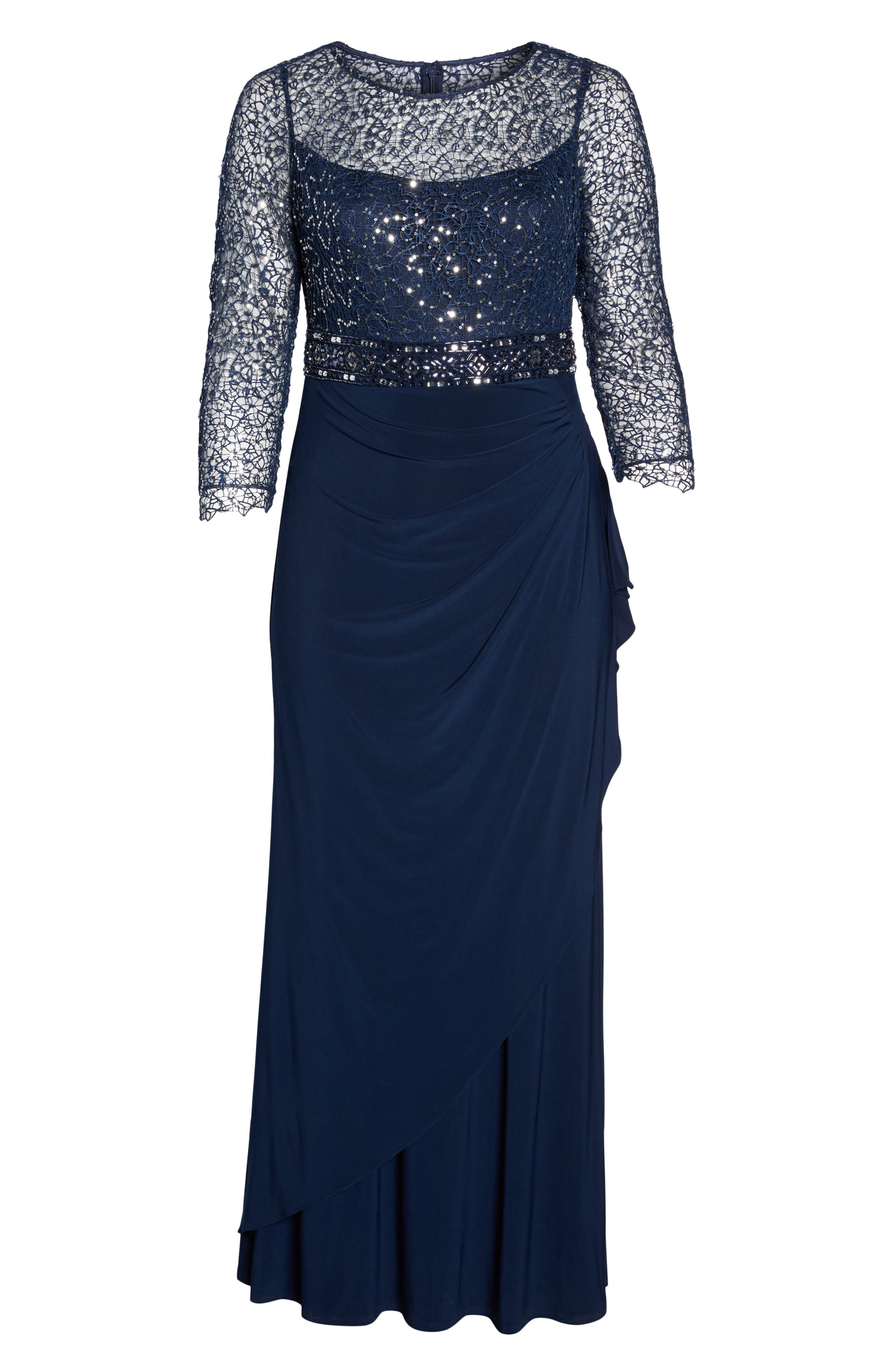 Lace & Jersey Gown,                             Alternate thumbnail 6, color,                             NAVY
