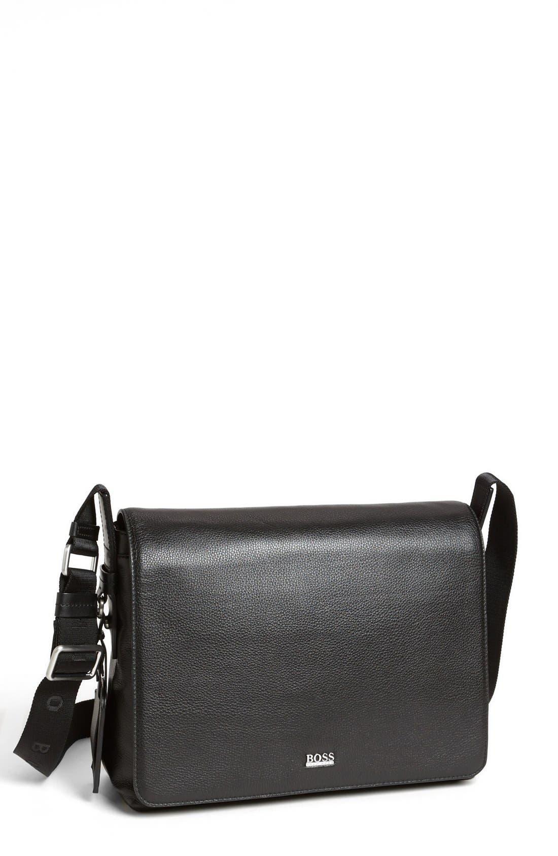 HUGO BOSS 'Barter' Leather Messenger Bag, Main, color, 001