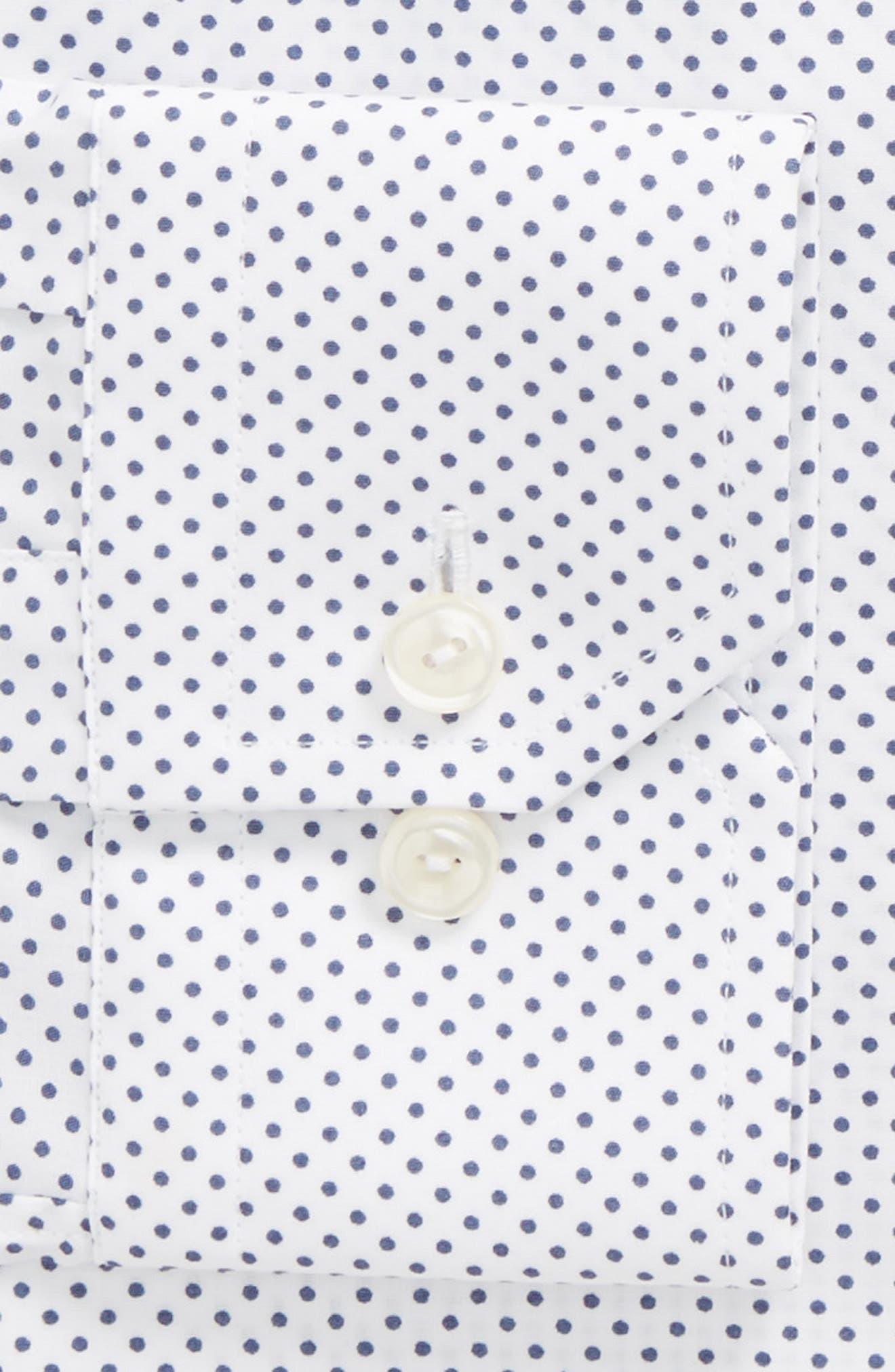 Slim Fit Dot Dress Shirt,                             Alternate thumbnail 6, color,                             100
