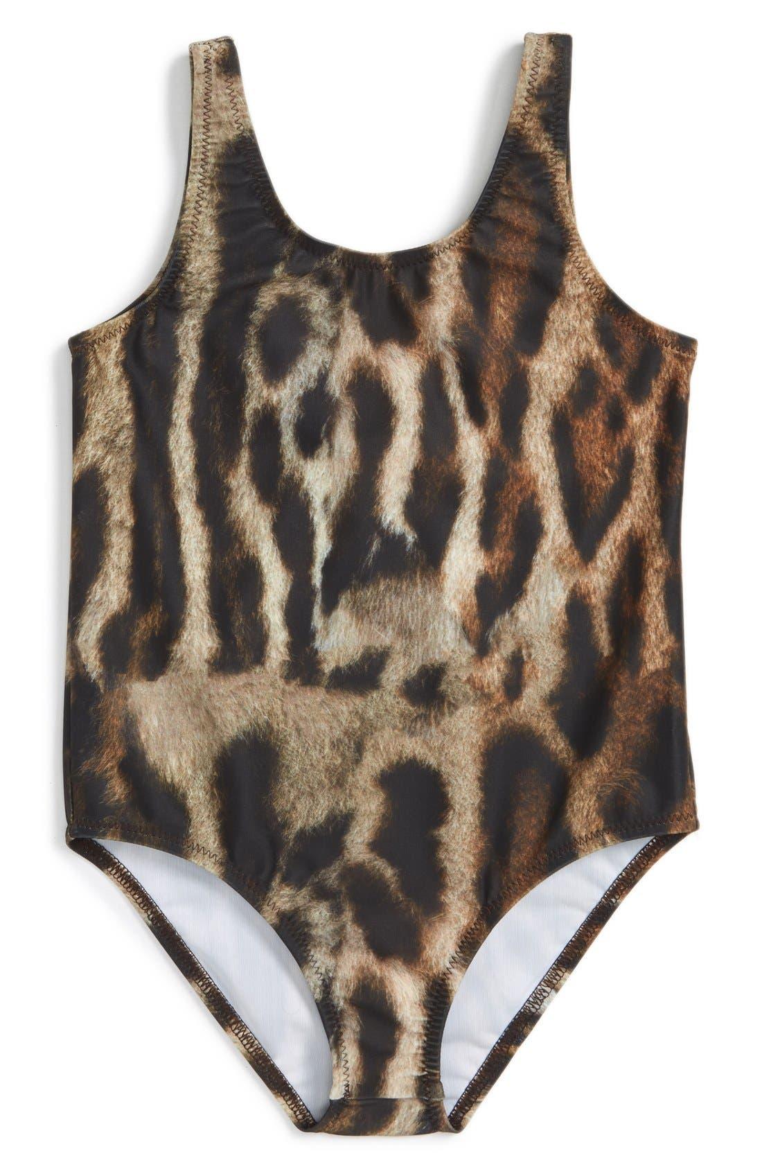 Leopard Print One-Piece Swimsuit,                             Main thumbnail 1, color,                             215