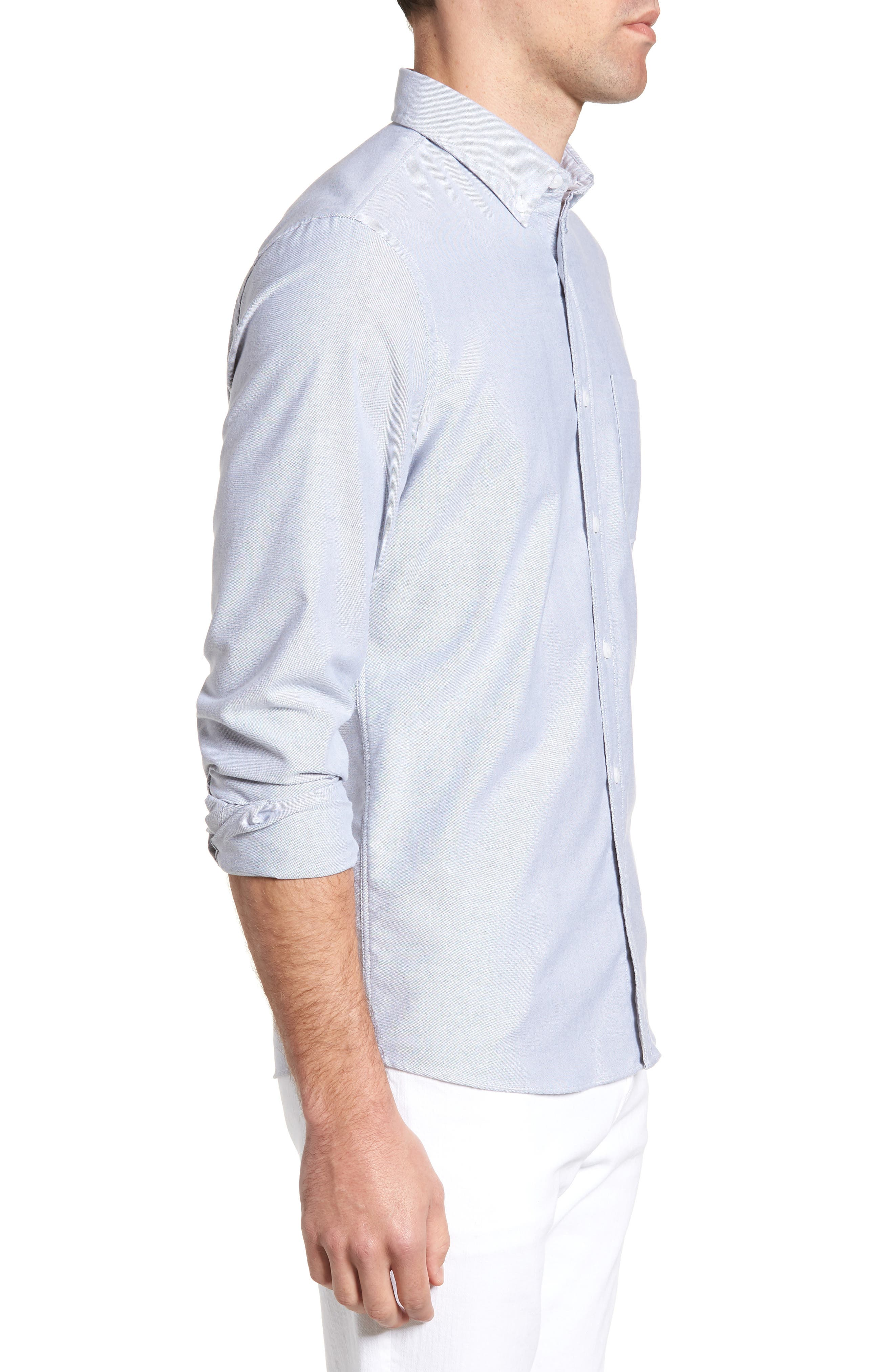 Trim Fit Washed Oxford Shirt,                             Alternate thumbnail 3, color,                             GREY MAGNET OXFORD