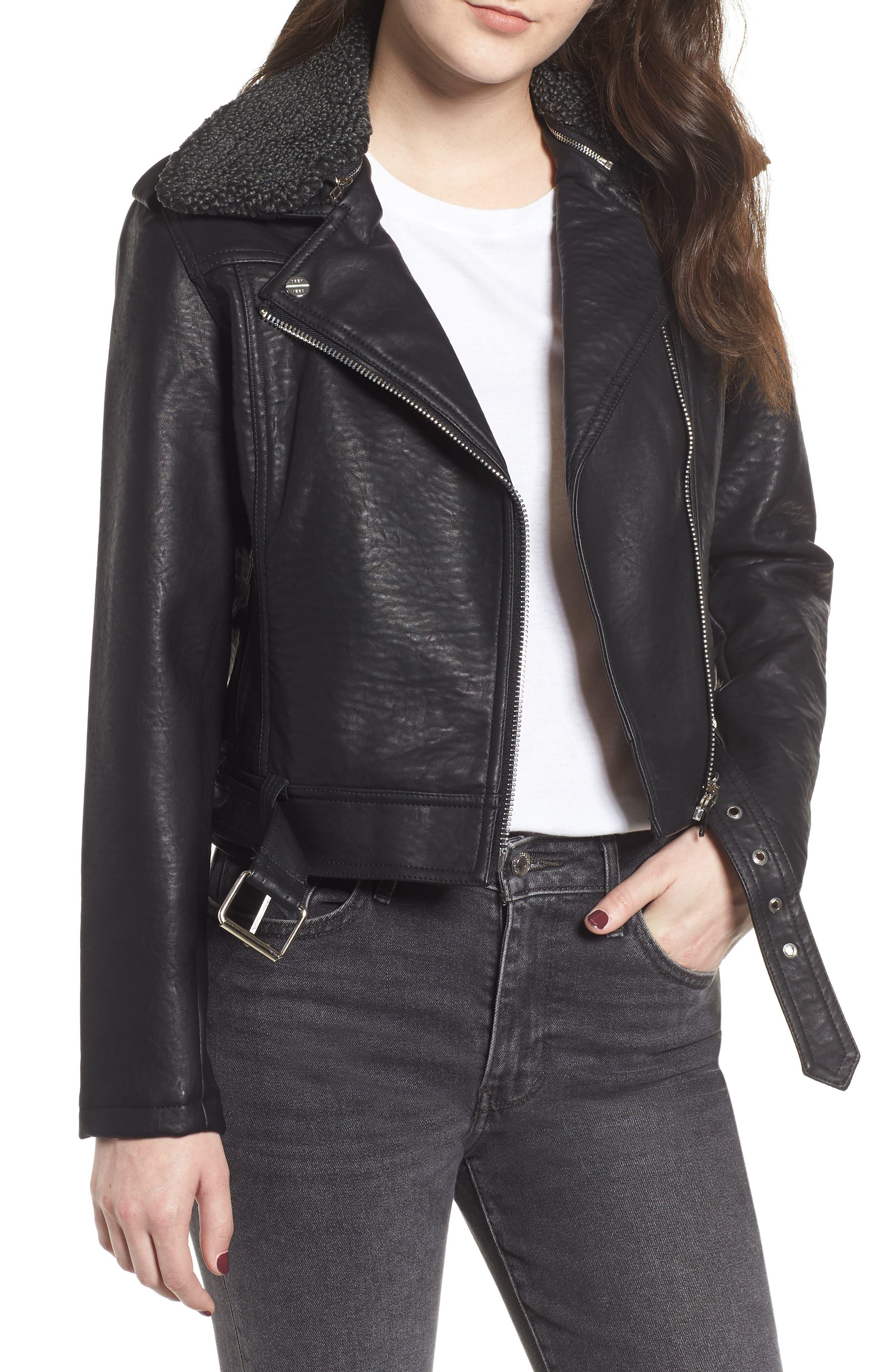 OBEY Joey Faux Shearling Collar Faux Leather Moto Jacket in Black