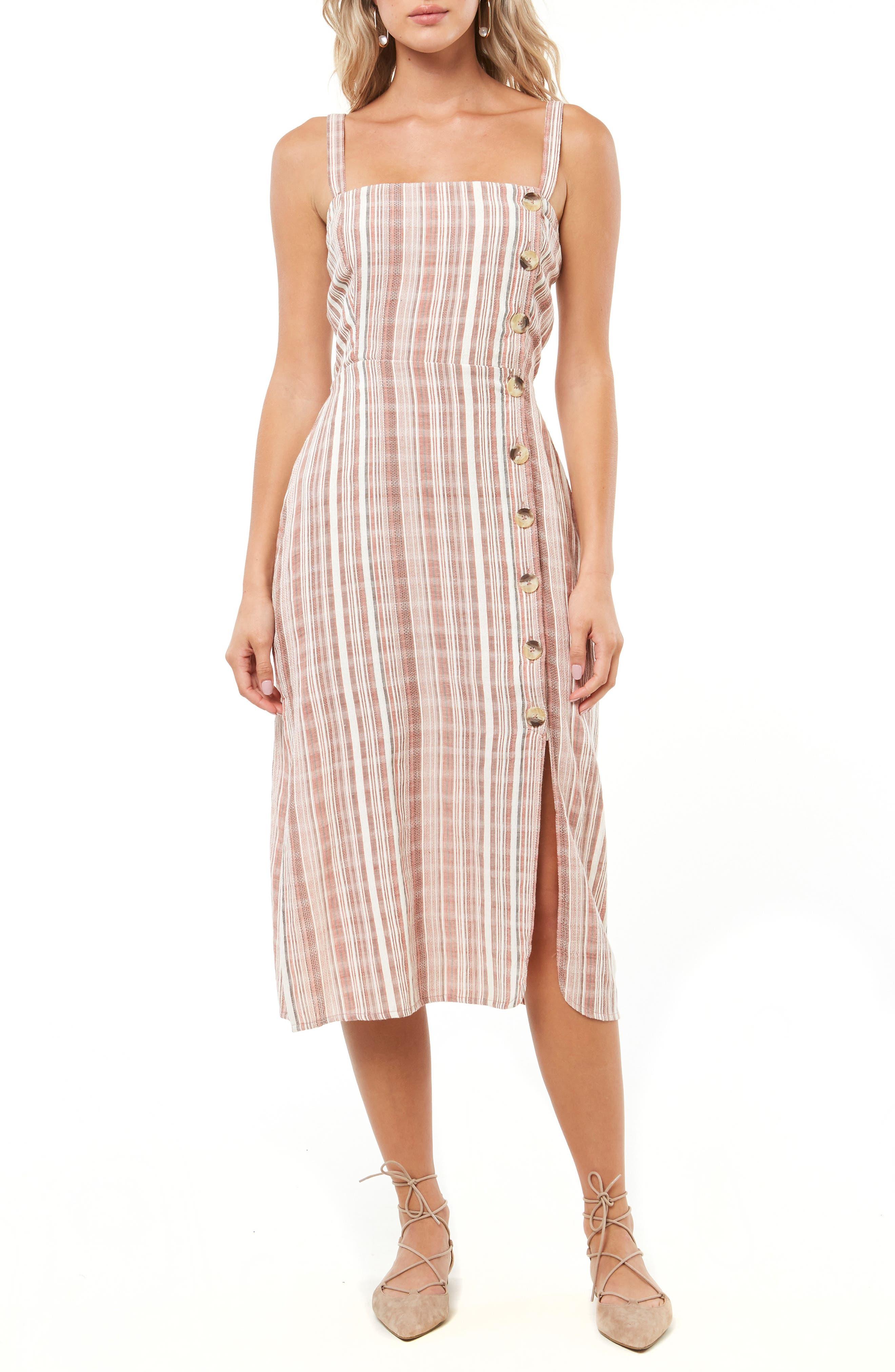 "Amalfi Stripe Woven Midi Dress40"",                         Main,                         color, ETRUSCAN RED"