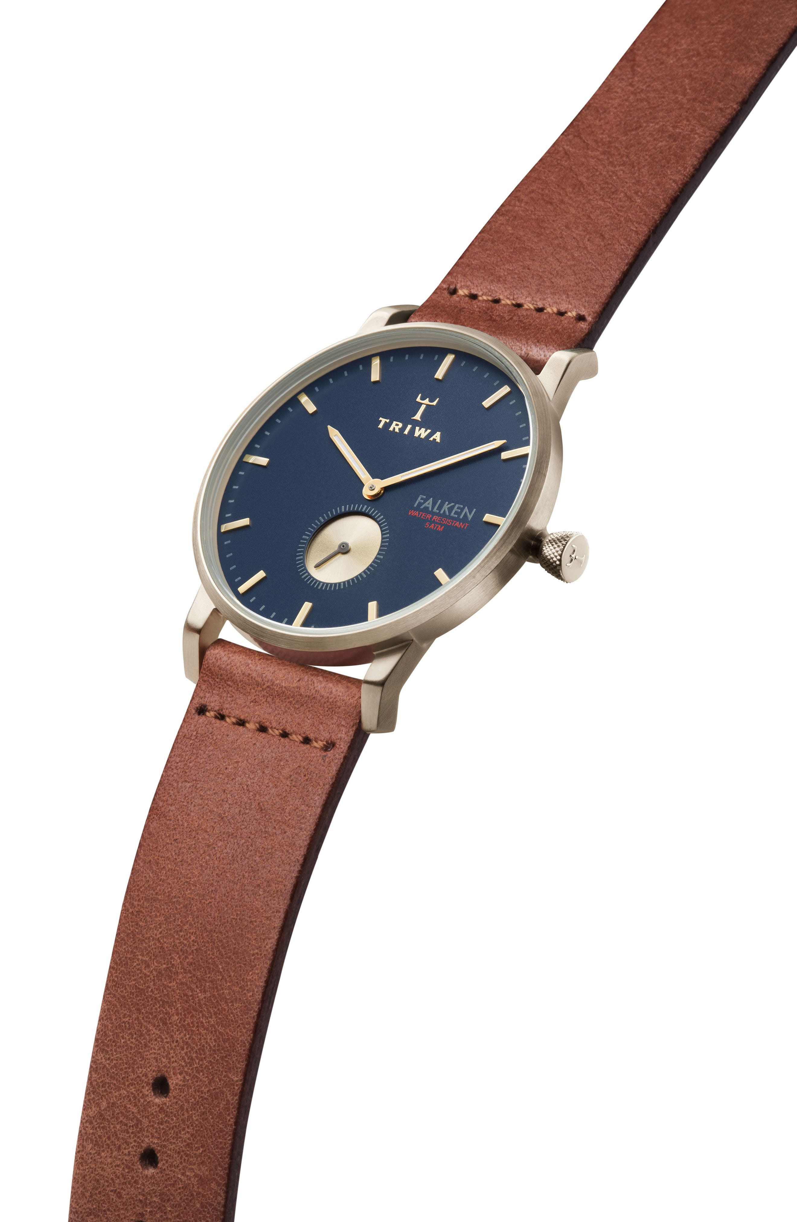 Loch Falken Organic Leather Strap Watch, 38mm,                             Alternate thumbnail 2, color,                             BROWN/ NAVY/ GOLD