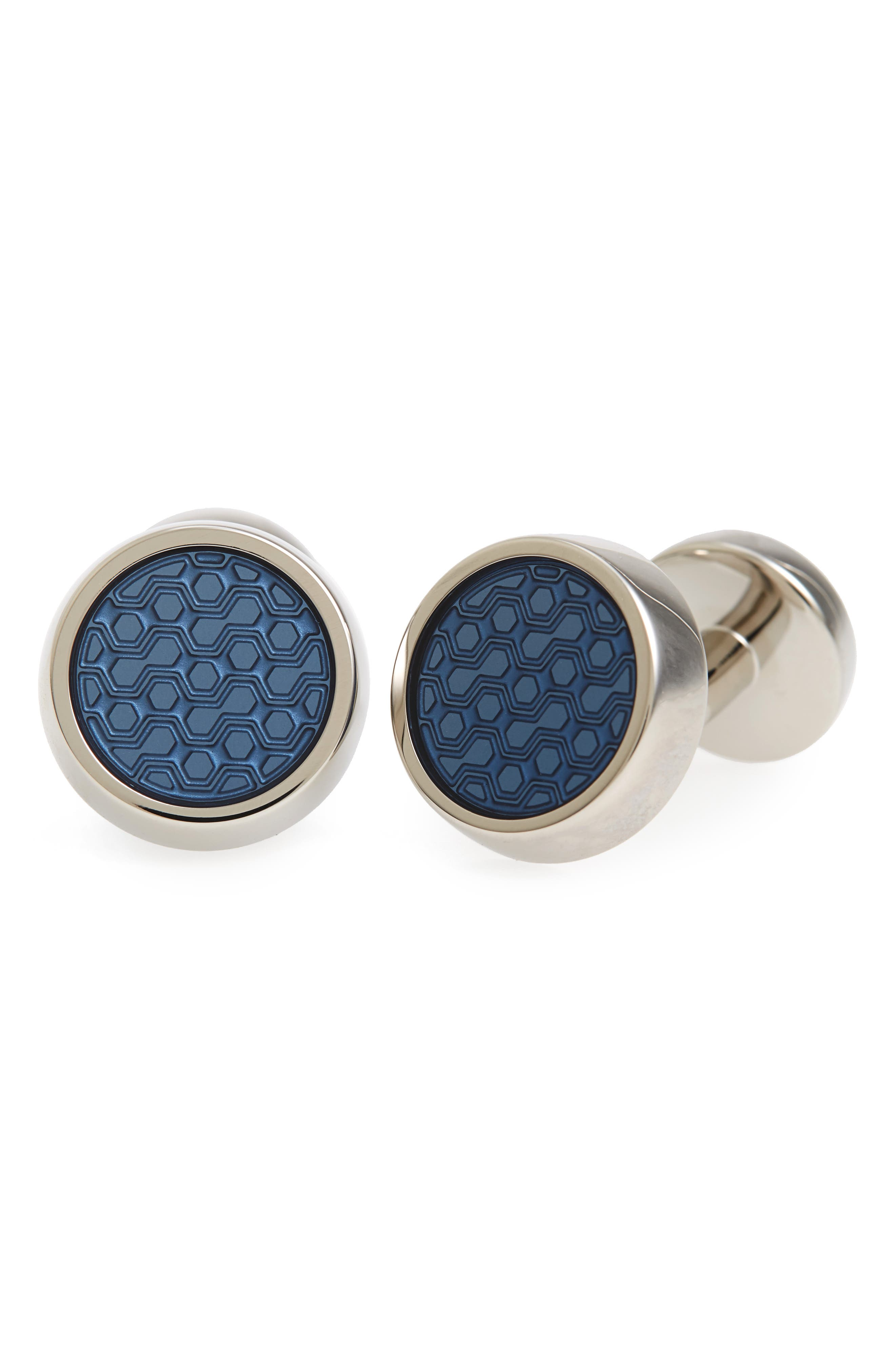 Round Cuff LInks,                         Main,                         color, BRIGHT BLUE
