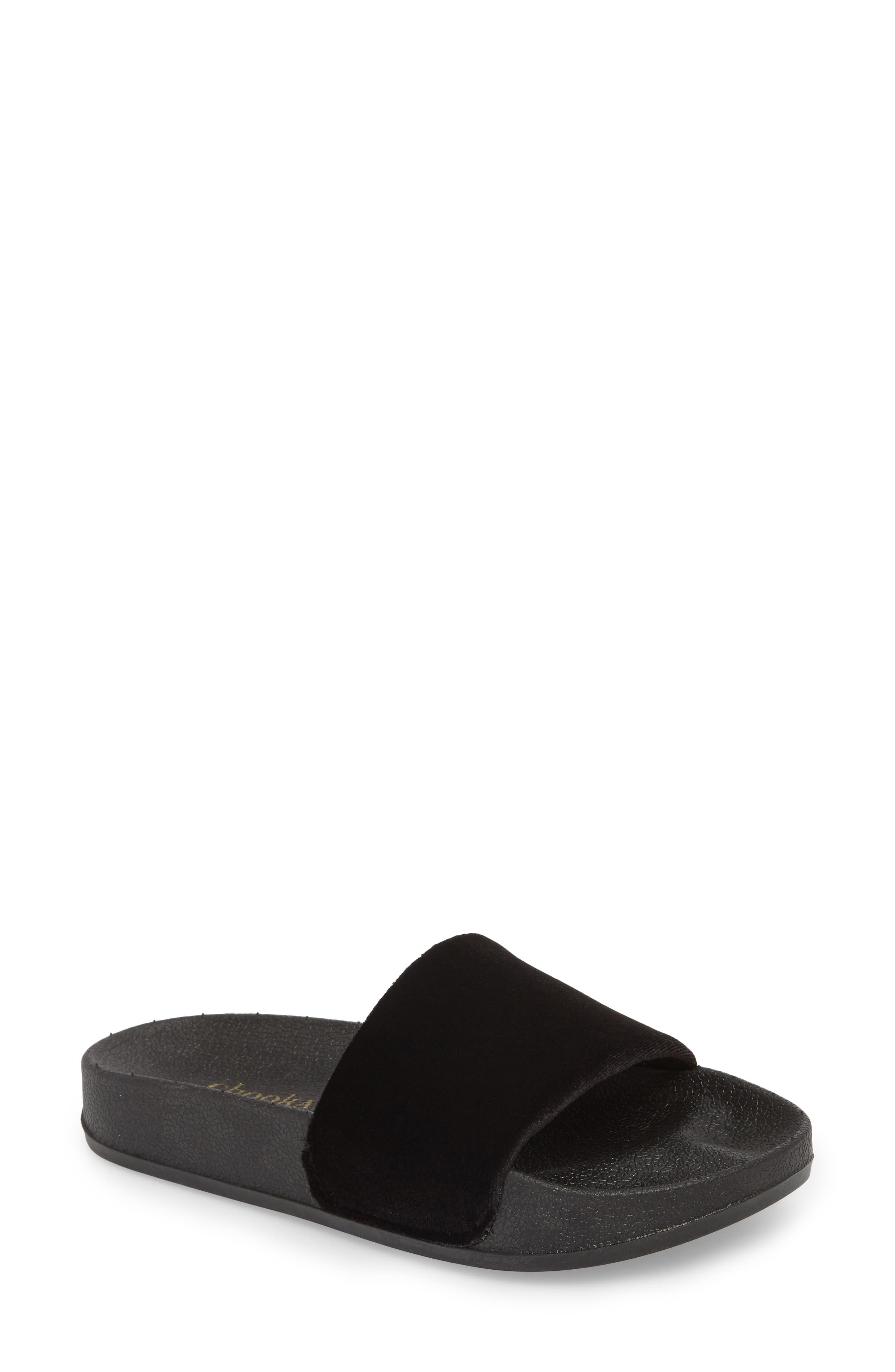 Slide Sandal,                             Main thumbnail 1, color,                             BLACK