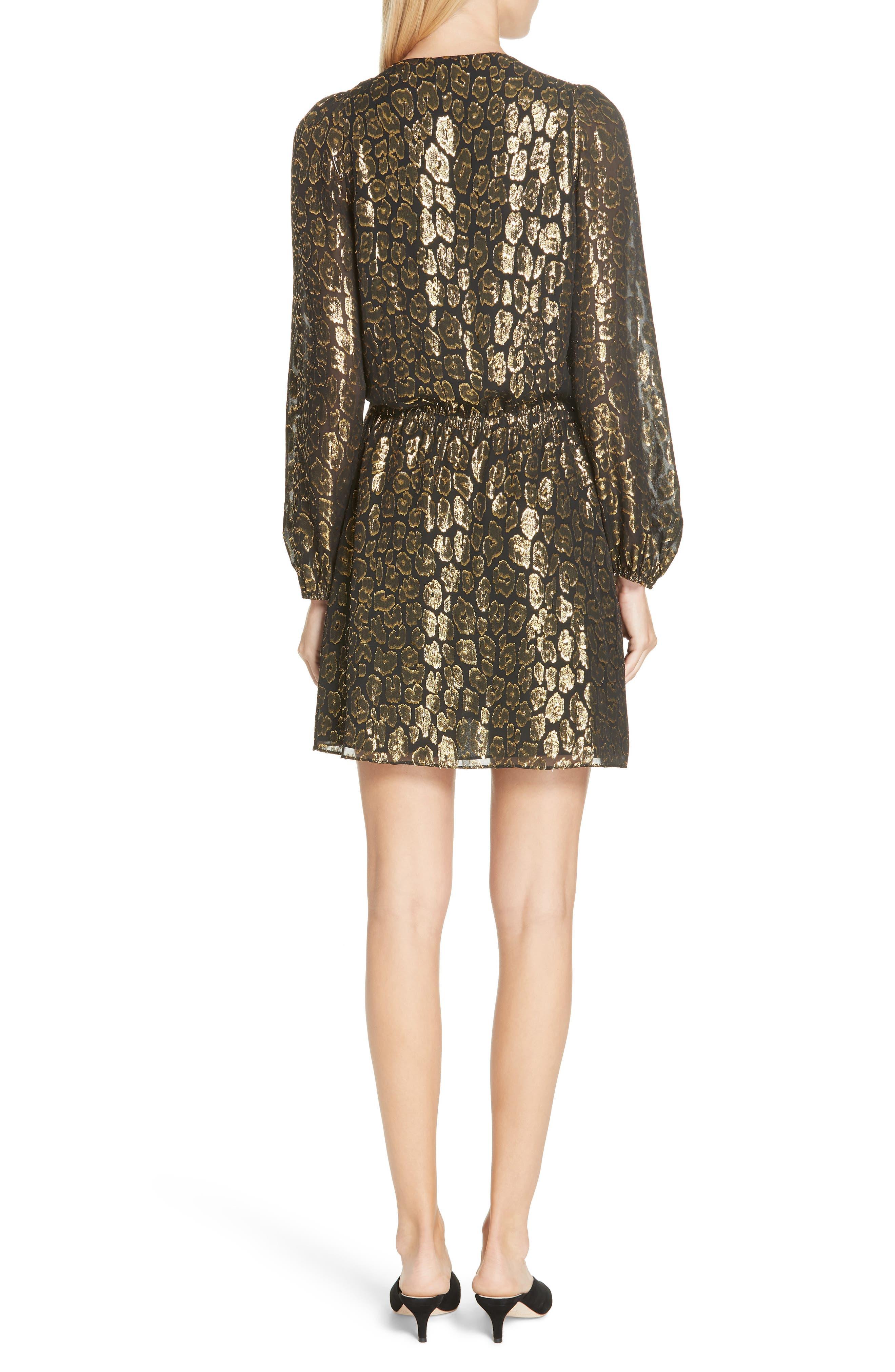 A.L.C.,                             Elsa Marina Leopard Fil Coupé Dress,                             Alternate thumbnail 2, color,                             001