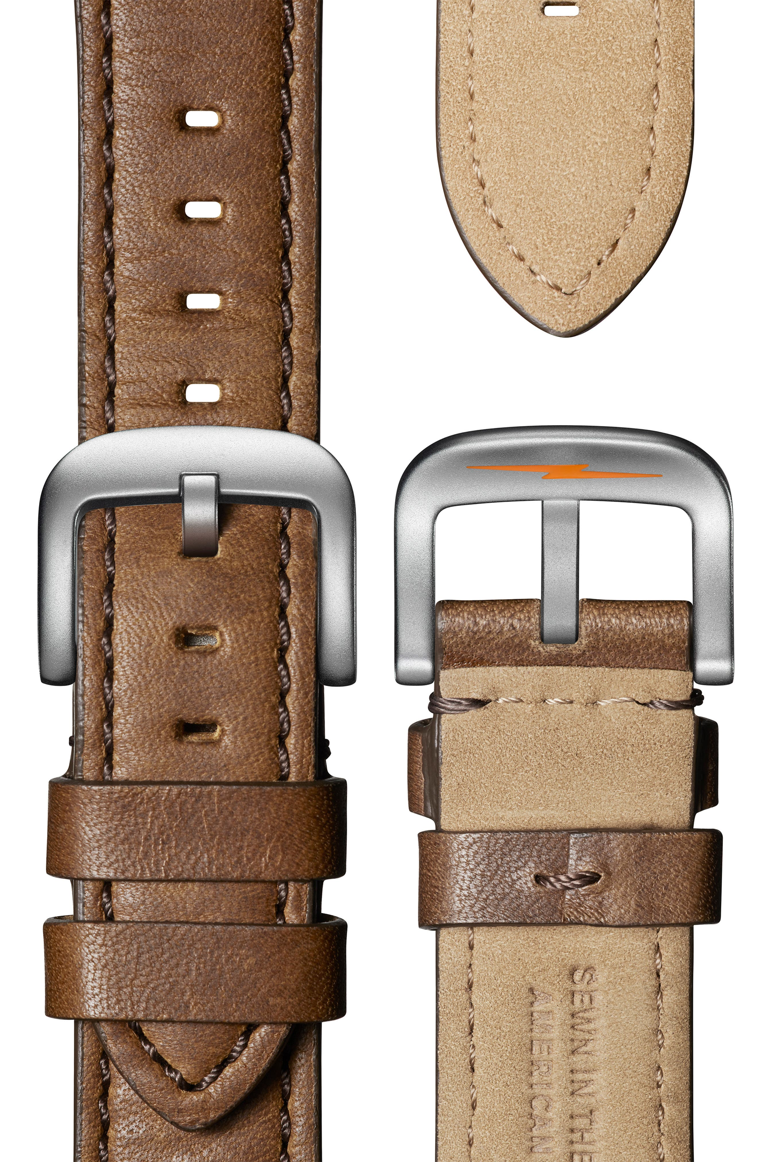 The Canfield Sport - Alan Bean Special Edition Chrongraph Leather Strap Watch,                             Alternate thumbnail 4, color,                             TAN/ BLACK/ SILVER