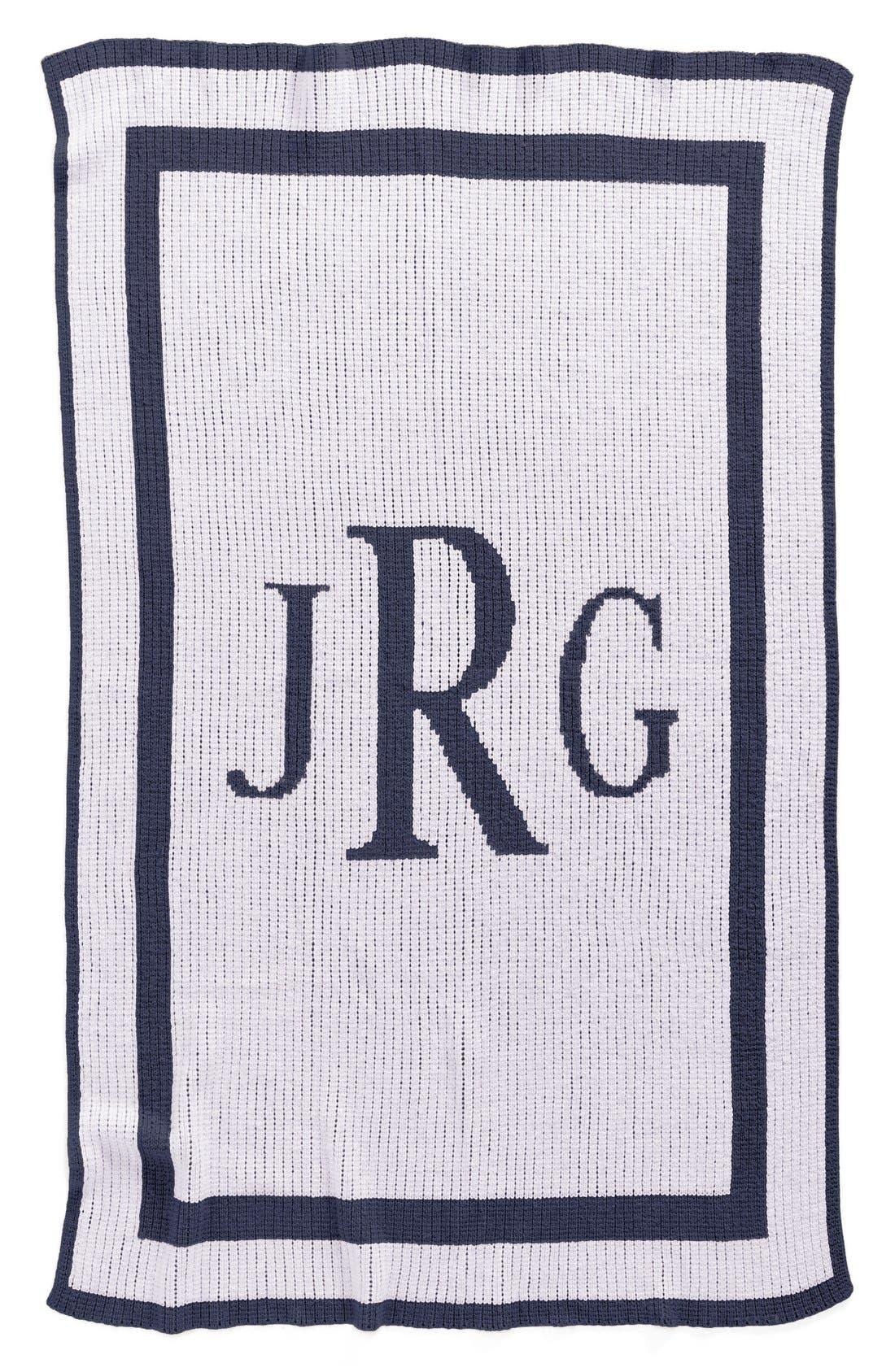 'Classic Monogram' Personalized Crib Blanket,                         Main,                         color, NAVY/ WHITE
