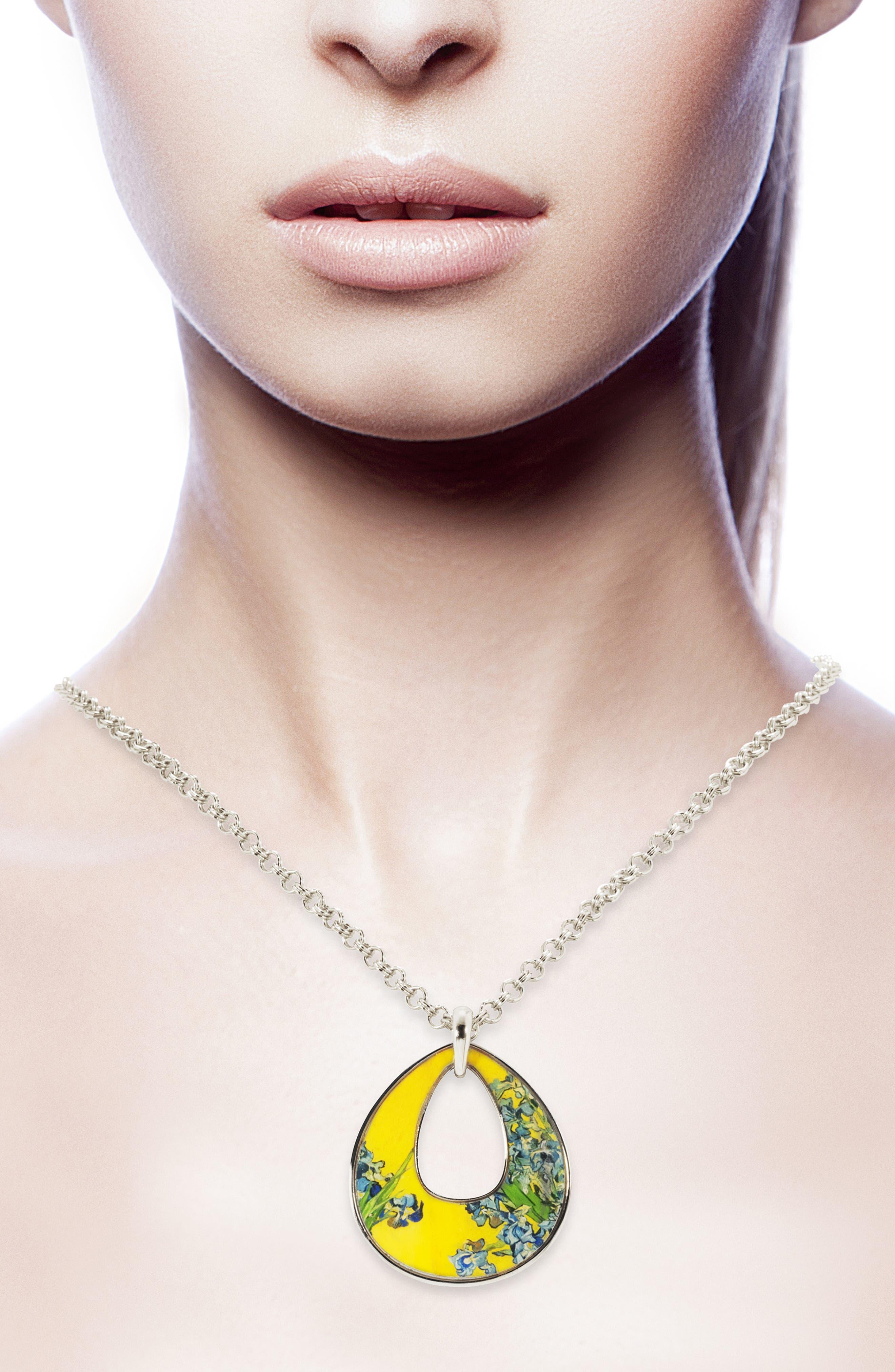 Silvertone Irises Open Teardrop Pendant Necklace,                             Alternate thumbnail 2, color,                             MULTI