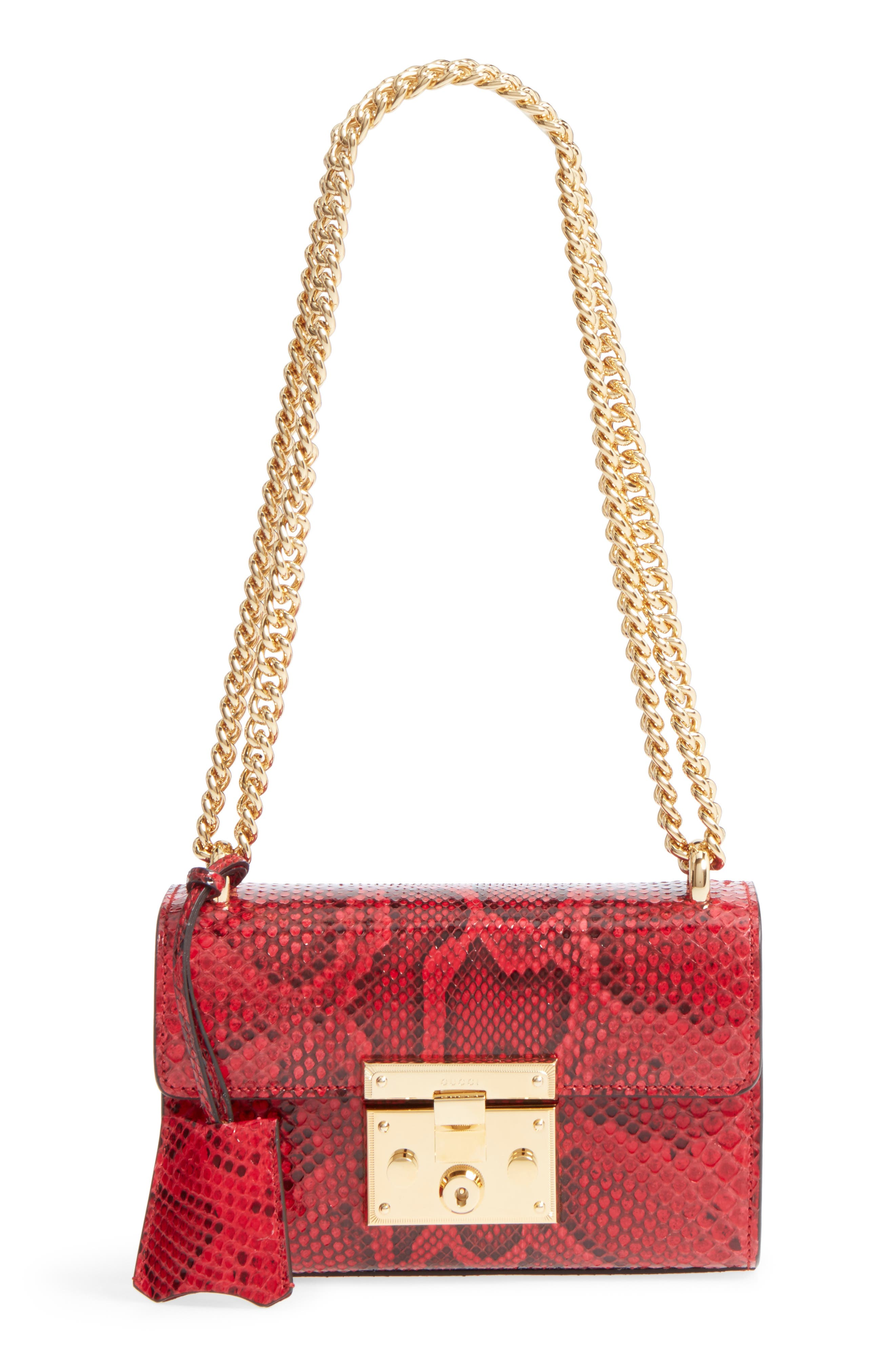 Small Padlock - Genuine Python Shoulder Bag,                             Main thumbnail 1, color,                             HIBISCUS RED