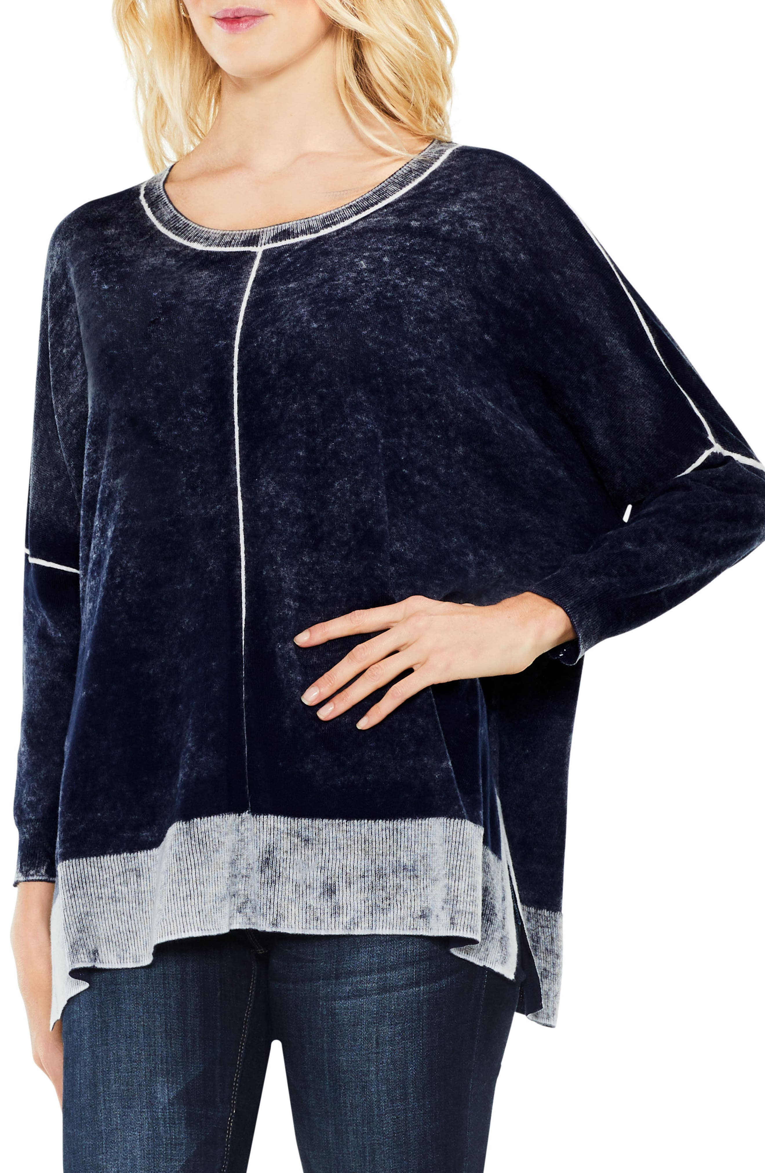 Two by Vince Camuto Inside Out Printed Sweater,                         Main,                         color, BLUE NIGHT