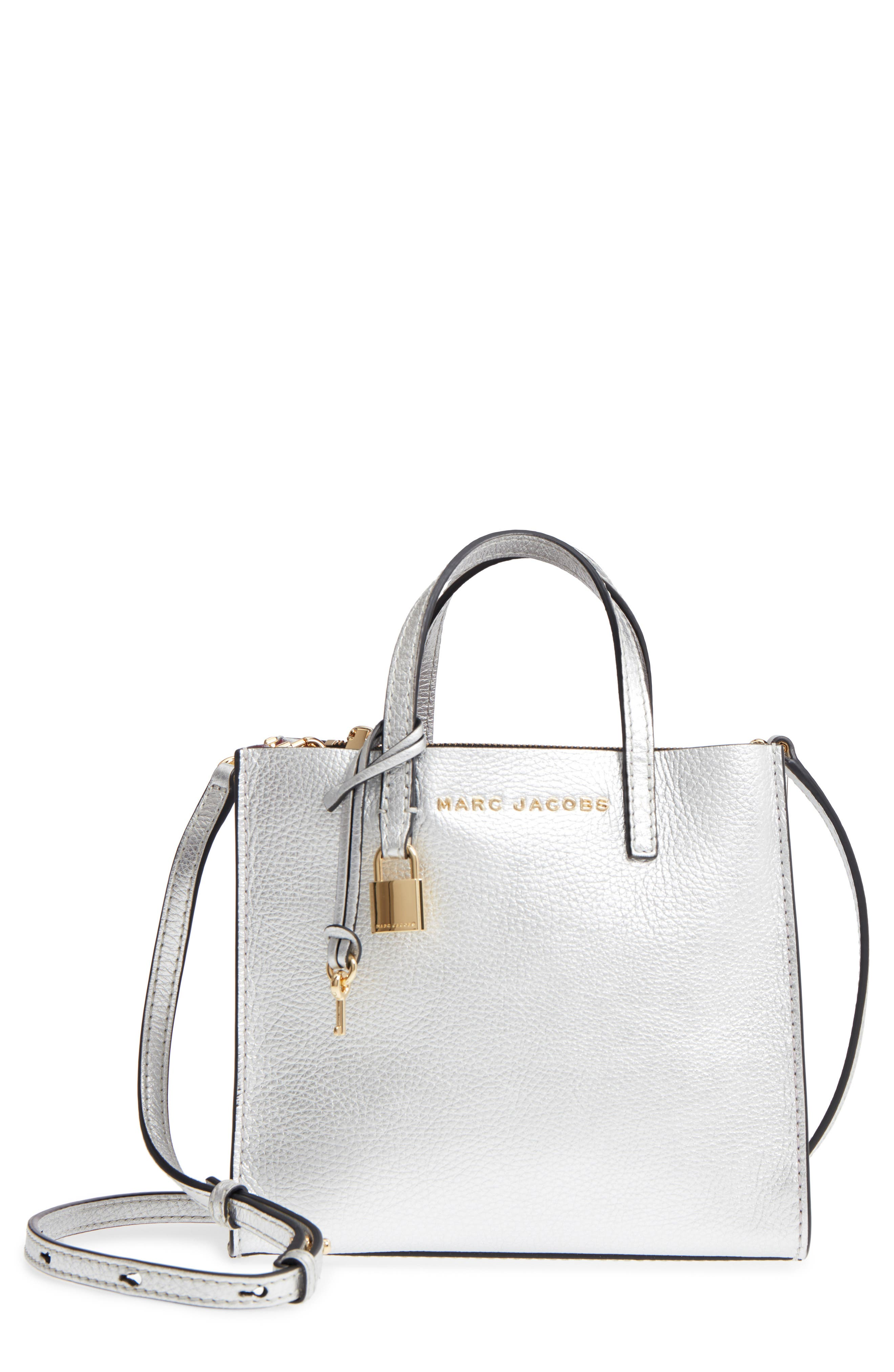 Mini The Grind Metallic Leather Tote,                             Main thumbnail 1, color,                             SILVER