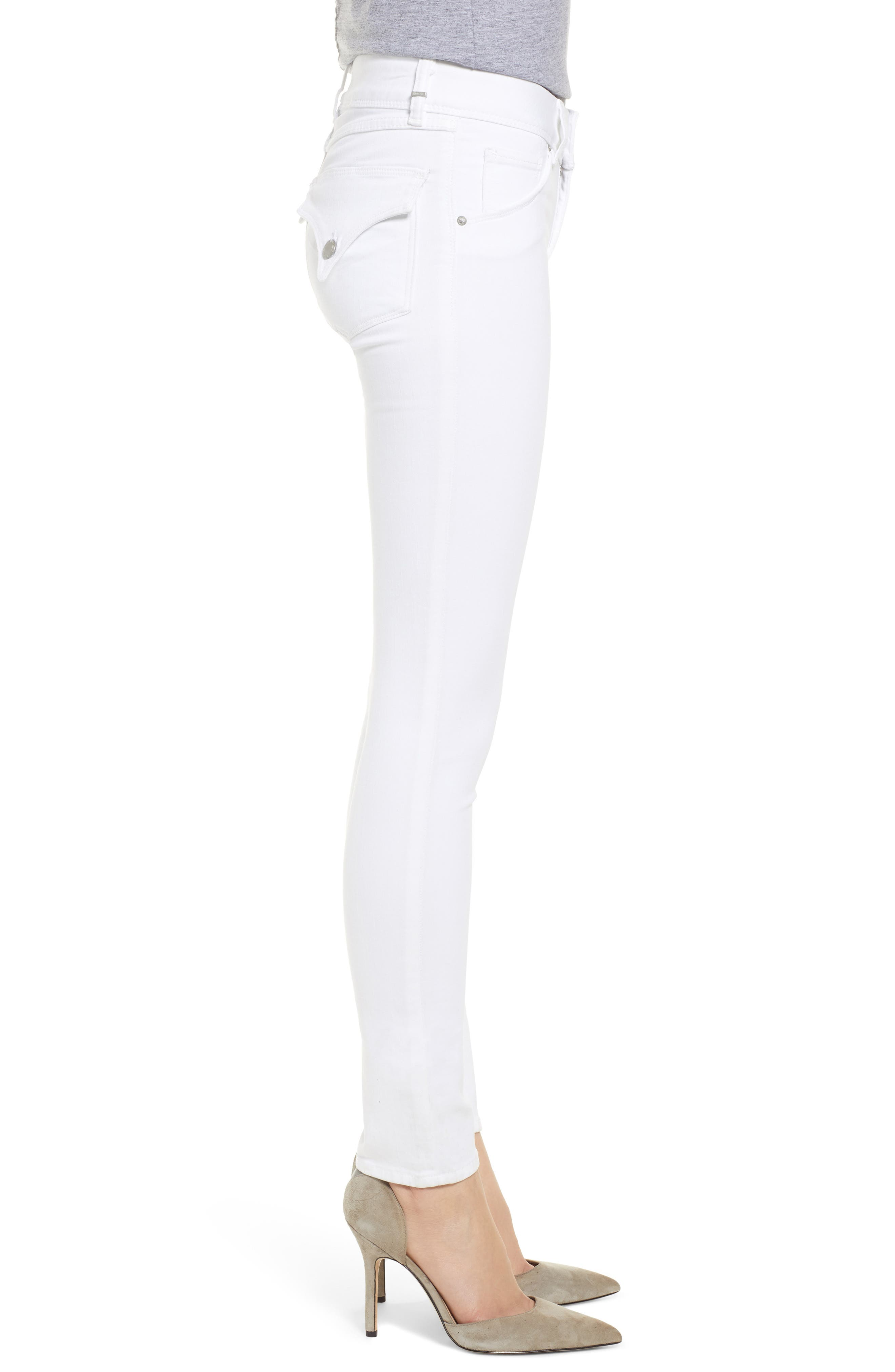 HUDSON JEANS,                             Collin Skinny Jeans,                             Alternate thumbnail 3, color,                             WHITE