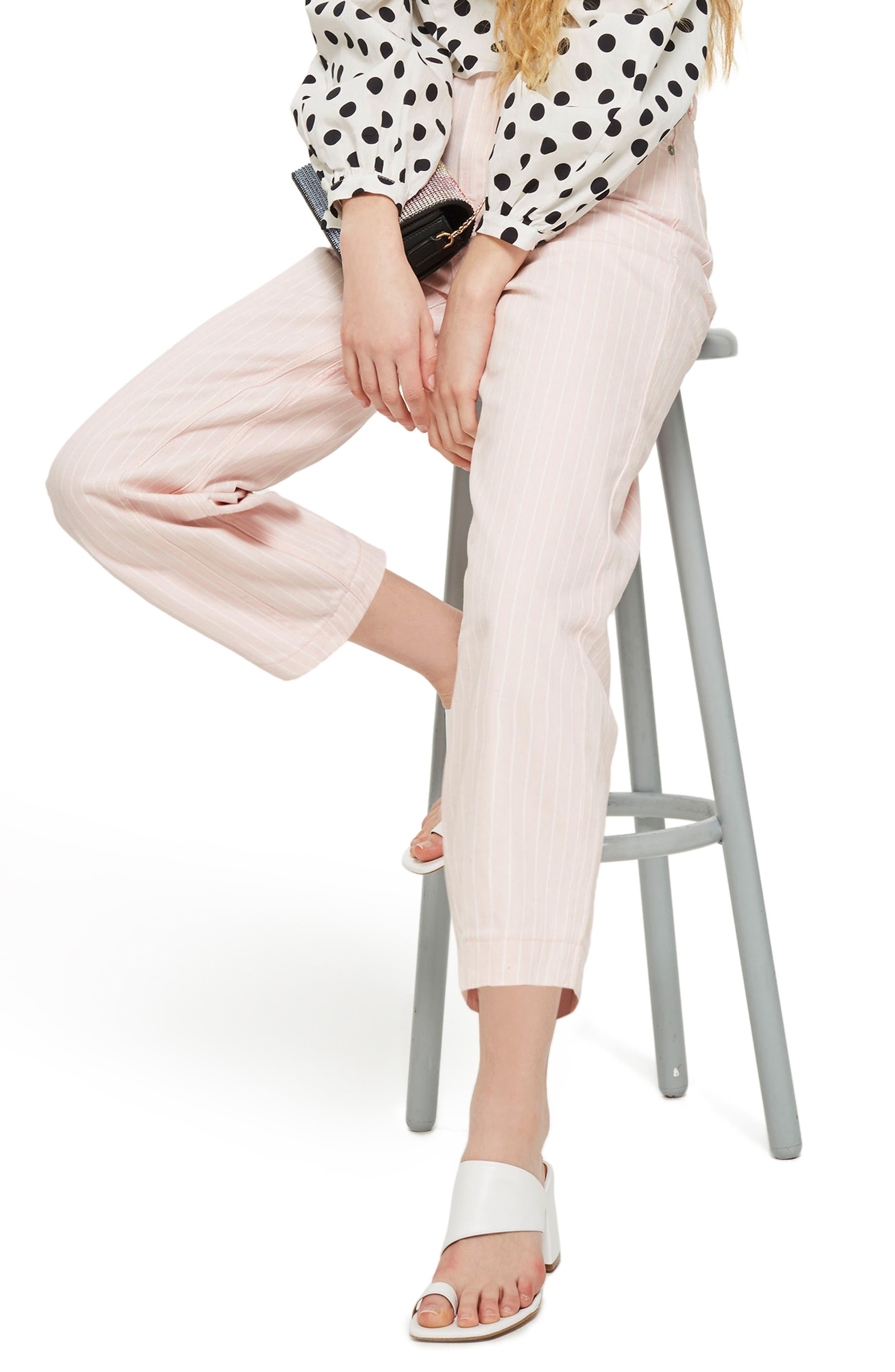 Pink Stripe Wide Leg Crop Jeans,                             Alternate thumbnail 3, color,                             650