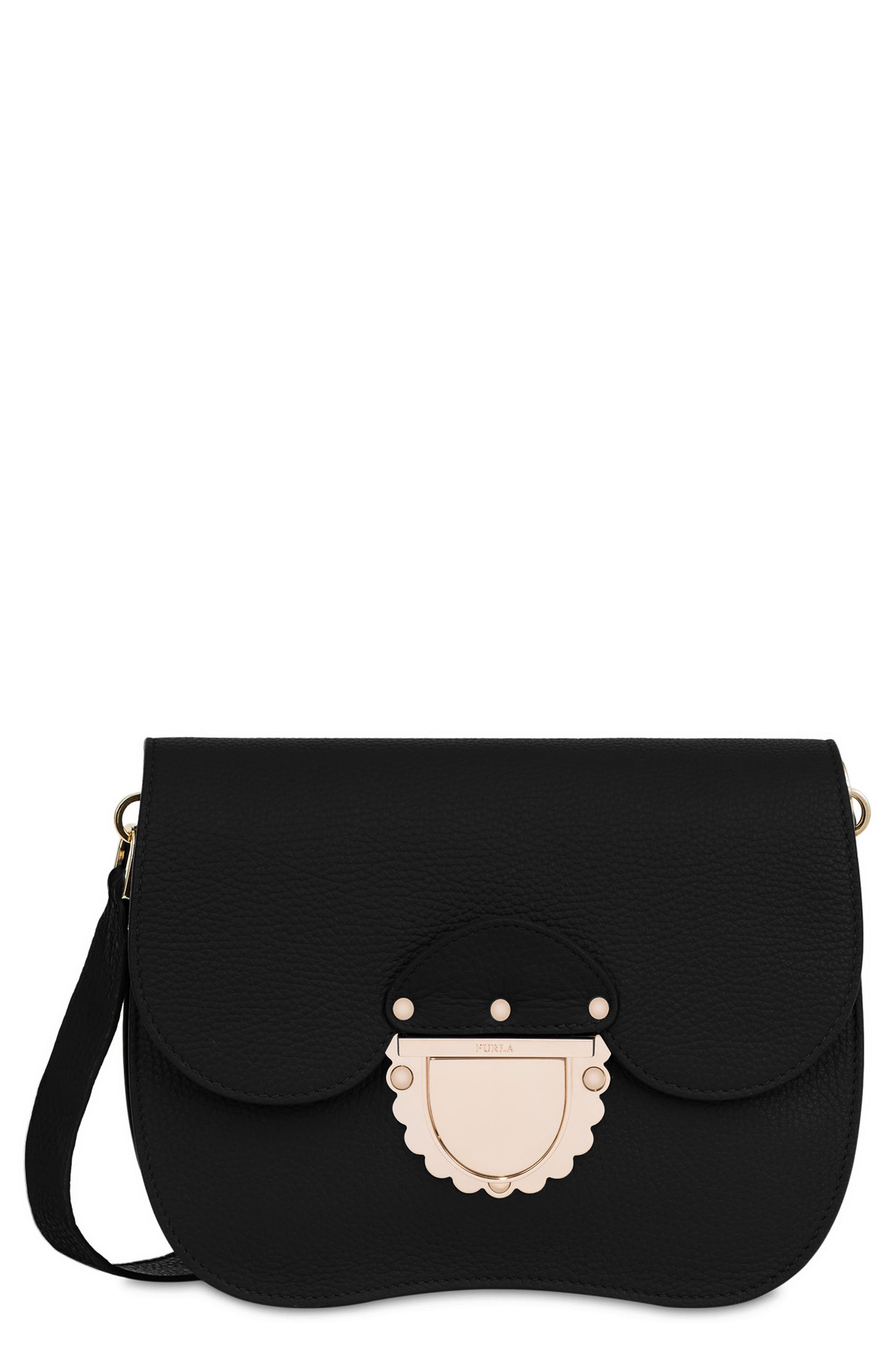 FURLA,                             Small Metropolis Leather Crossbody Bag,                             Main thumbnail 1, color,                             001