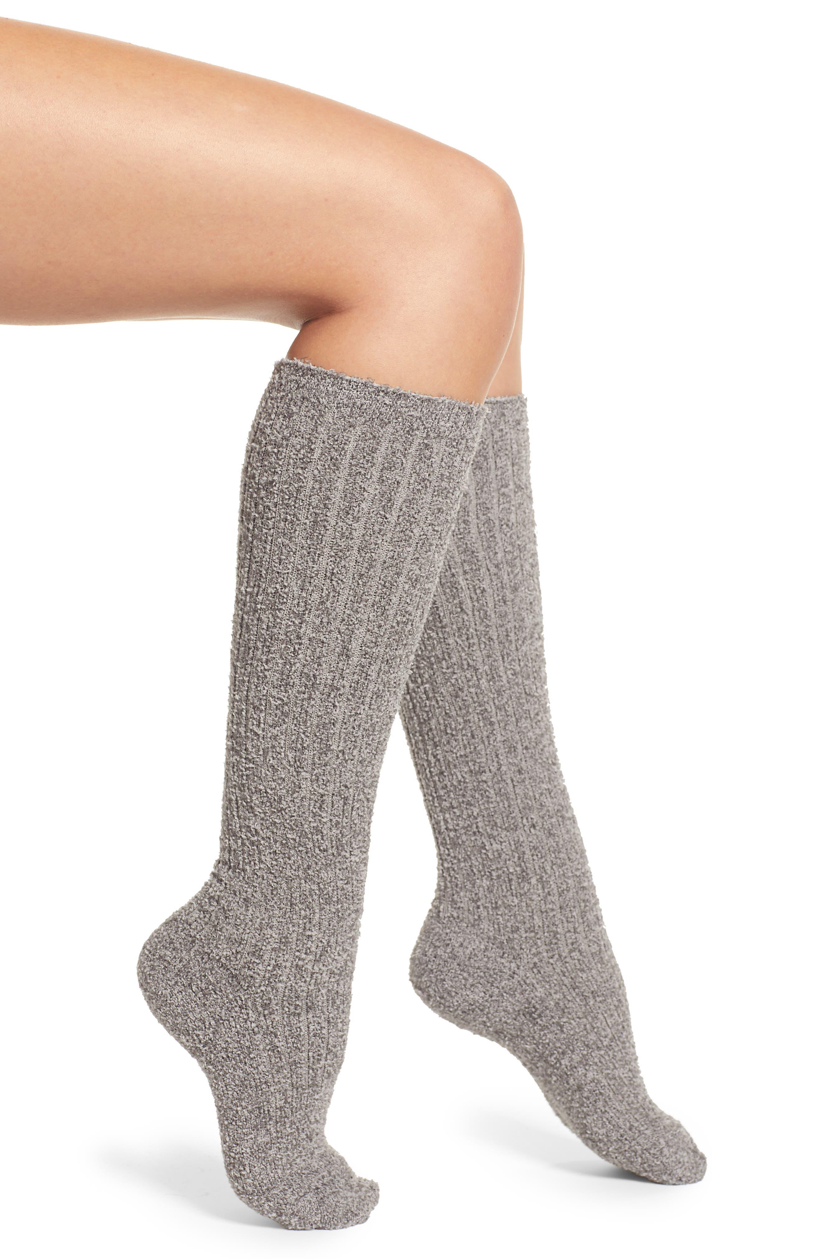 Vintage Socks | 1920s, 1930s, 1940s, 1950s, 1960s History Womens Barefoot Dreams CozychicTM Rib Knee High Socks Size One Size - Grey $18.00 AT vintagedancer.com
