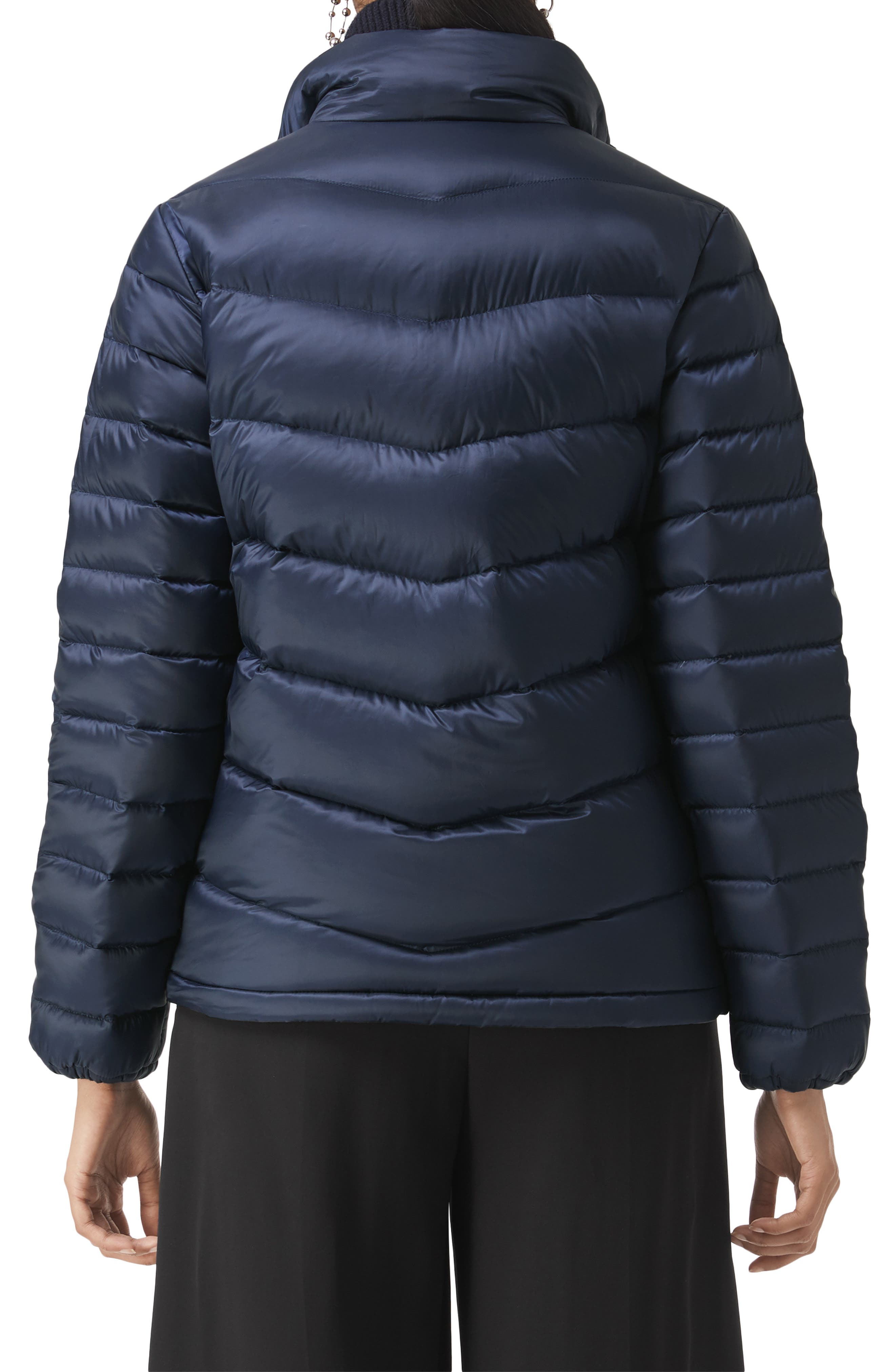 BURBERRY,                             Smethwick Archive Logo Quilted Down Puffer Coat,                             Alternate thumbnail 2, color,                             NAVY