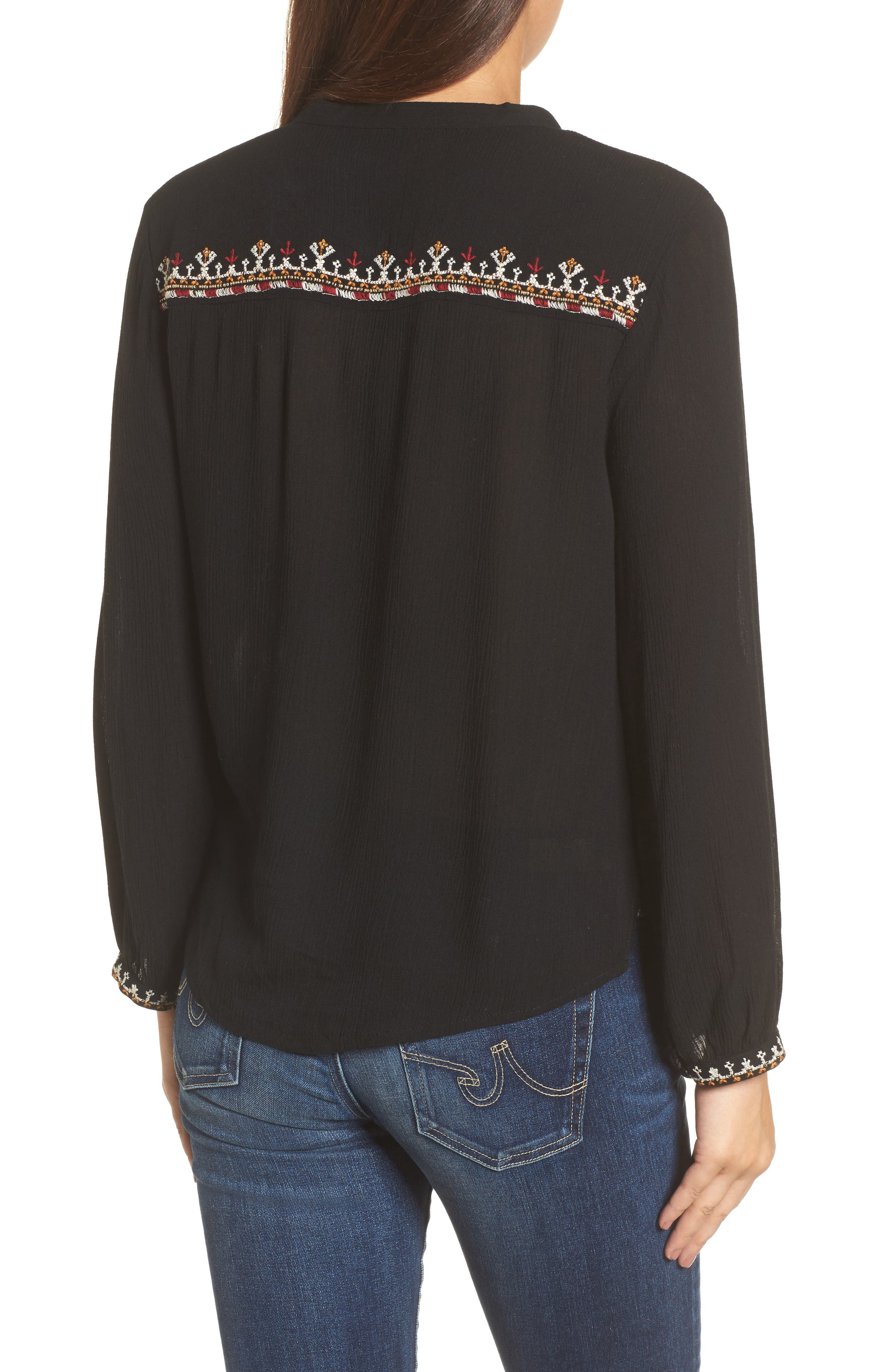 Embroidered Top,                             Alternate thumbnail 2, color,                             001