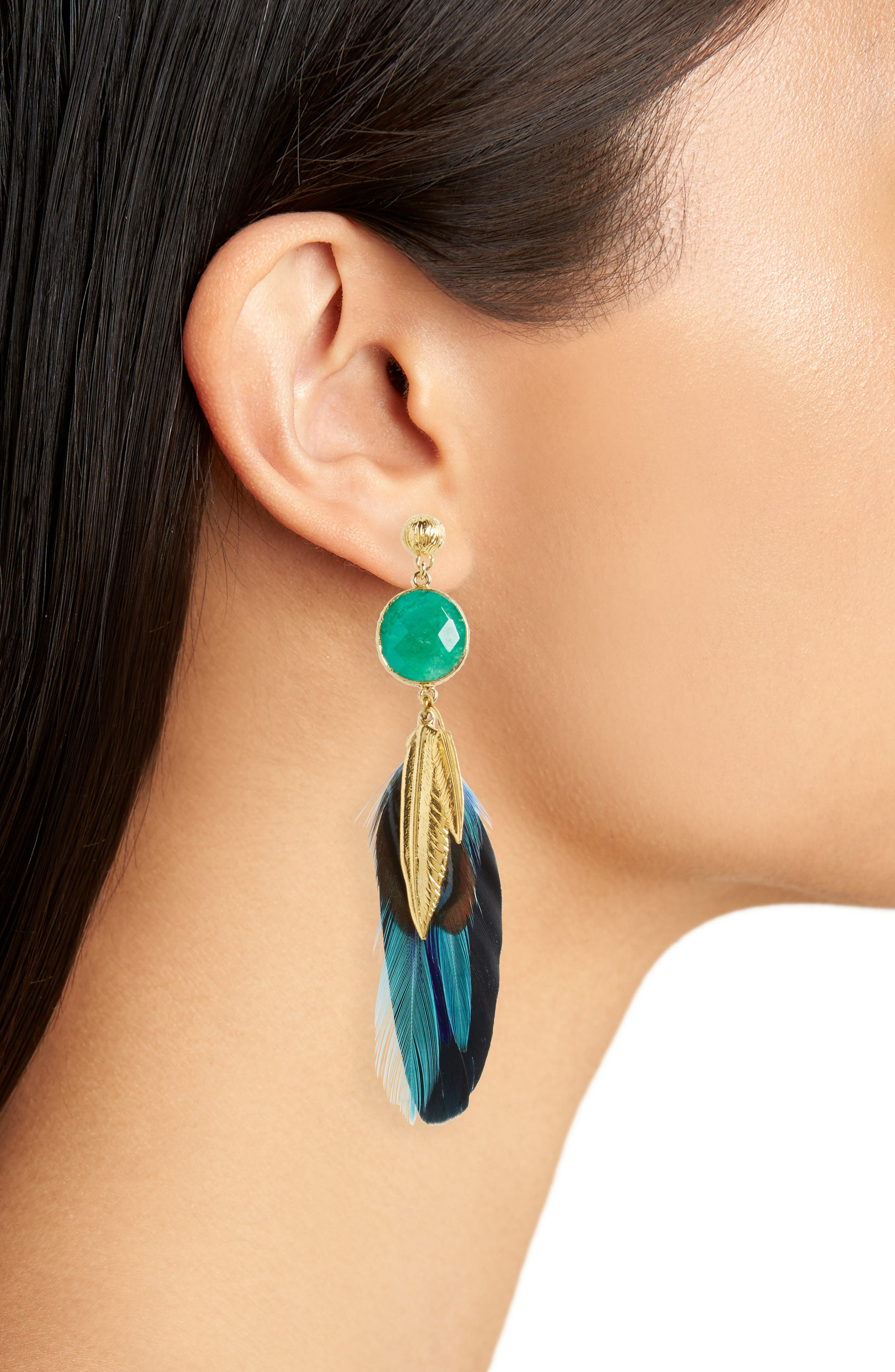 Serti Feather Drop Earrings,                             Alternate thumbnail 2, color,                             401