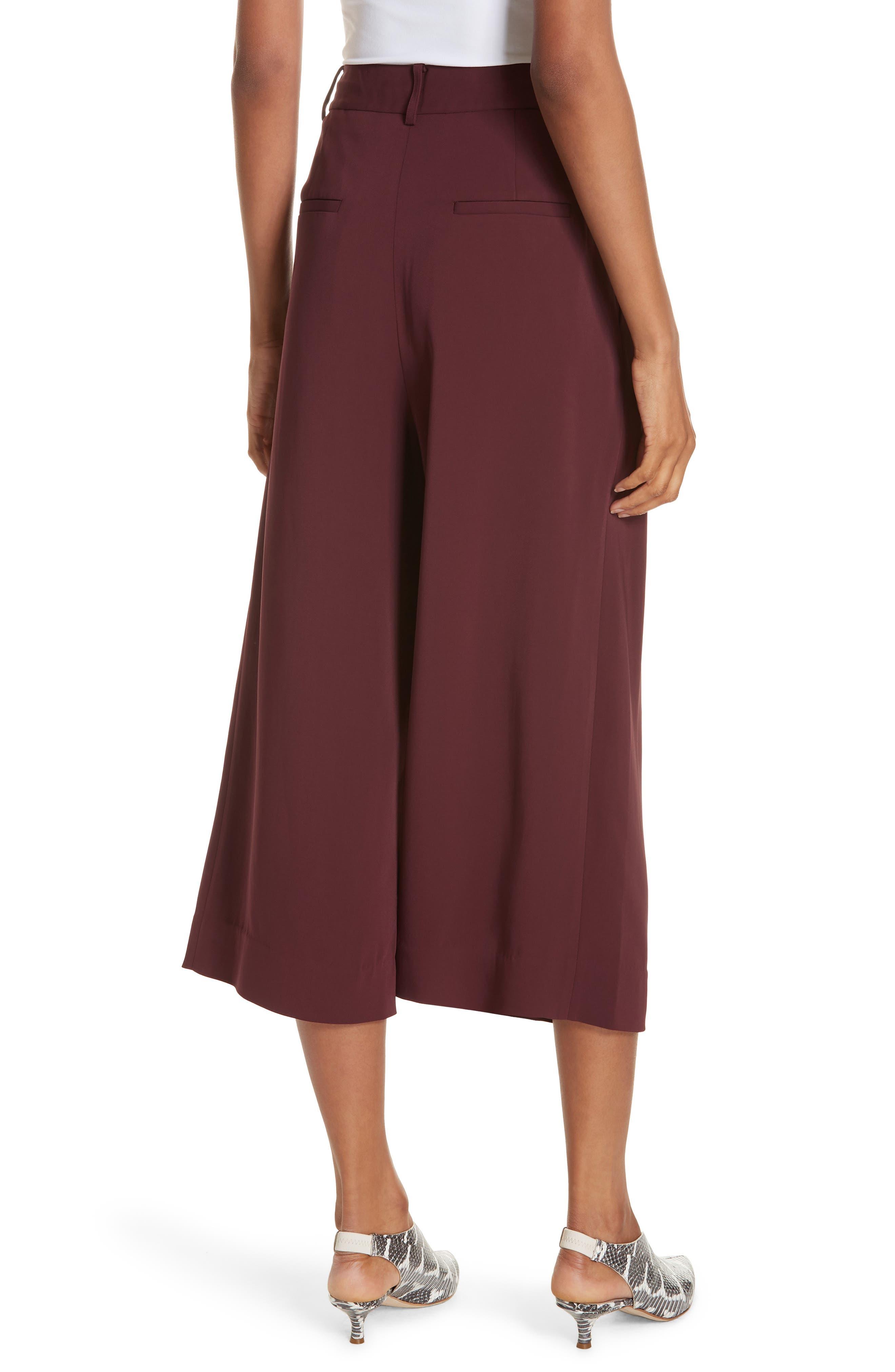 TIBI,                             Stella Stretch Suiting Crop Pants,                             Alternate thumbnail 2, color,                             DARK CURRANT
