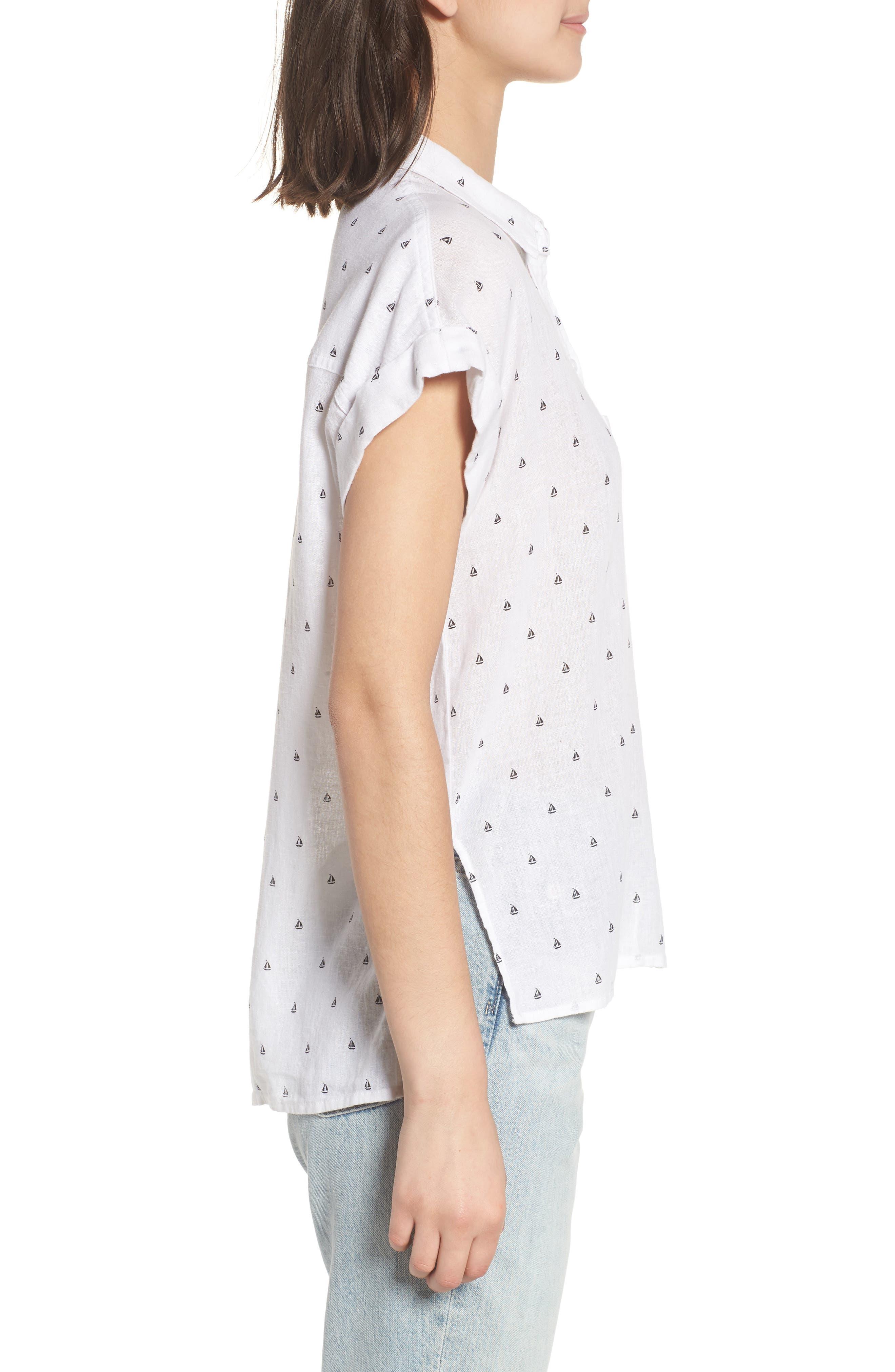 Whitney Sailboat Print Linen Blend Shirt,                             Alternate thumbnail 3, color,                             102
